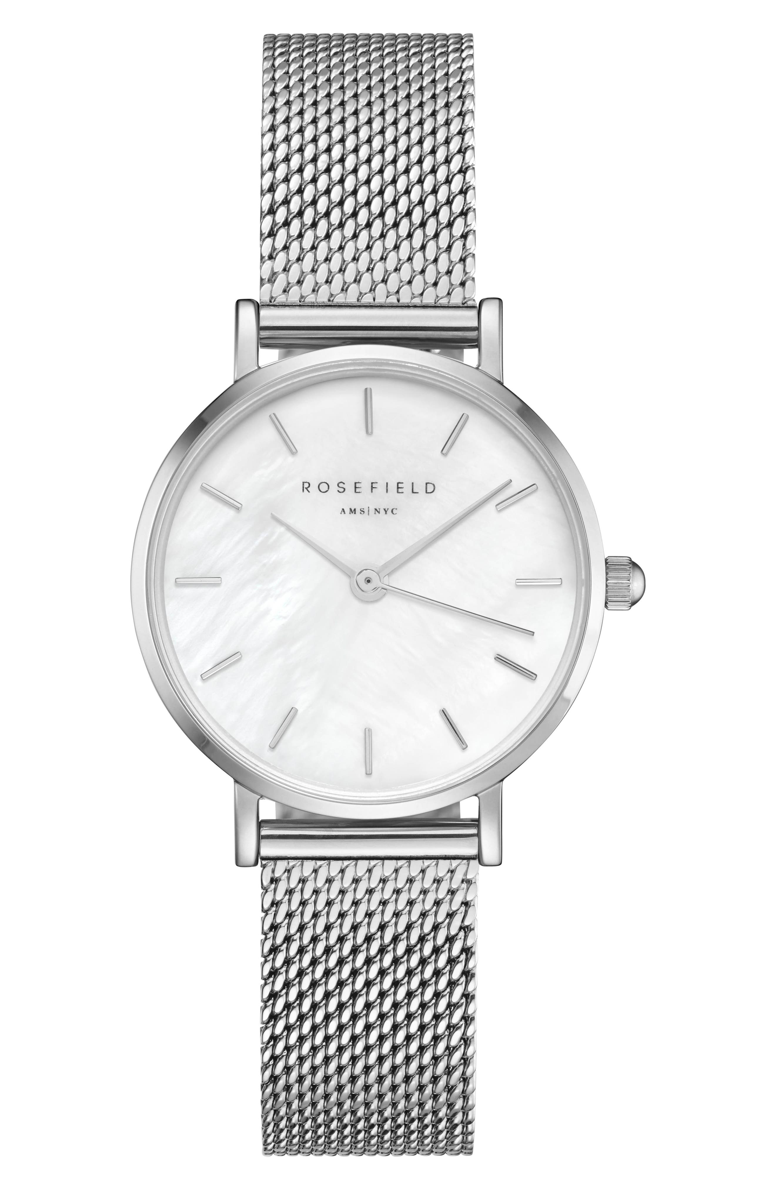 ROSEFIELD, Small Edit Stainless Steel Strap Watch, 26mm, Main thumbnail 1, color, SILVER/ WHITE MOP/ SILVER