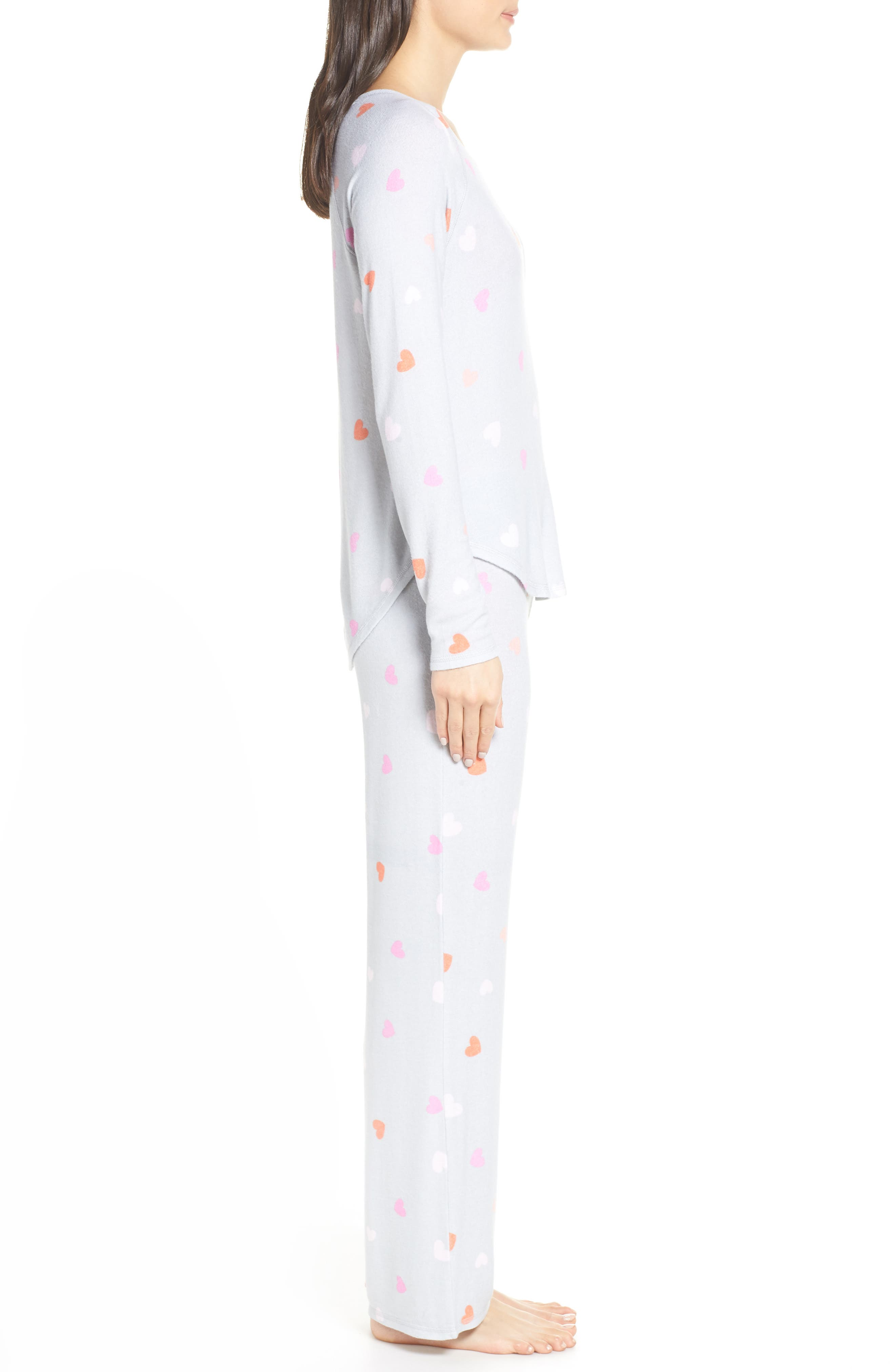 MAKE + MODEL, Knit Girlfriend Pajamas, Alternate thumbnail 3, color, GREY MICRO HEART