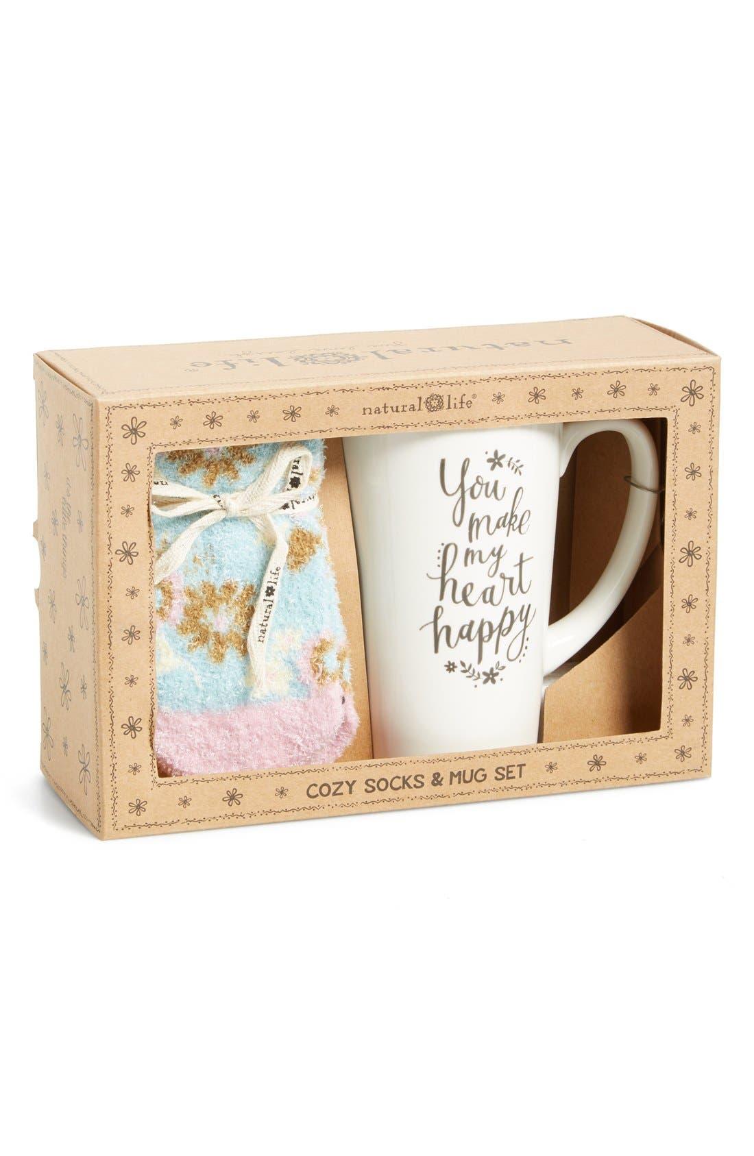 NATURAL LIFE, 'You Make My Heart Happy' Cozy Socks & Ceramic Mug Gift Set, Alternate thumbnail 2, color, 400