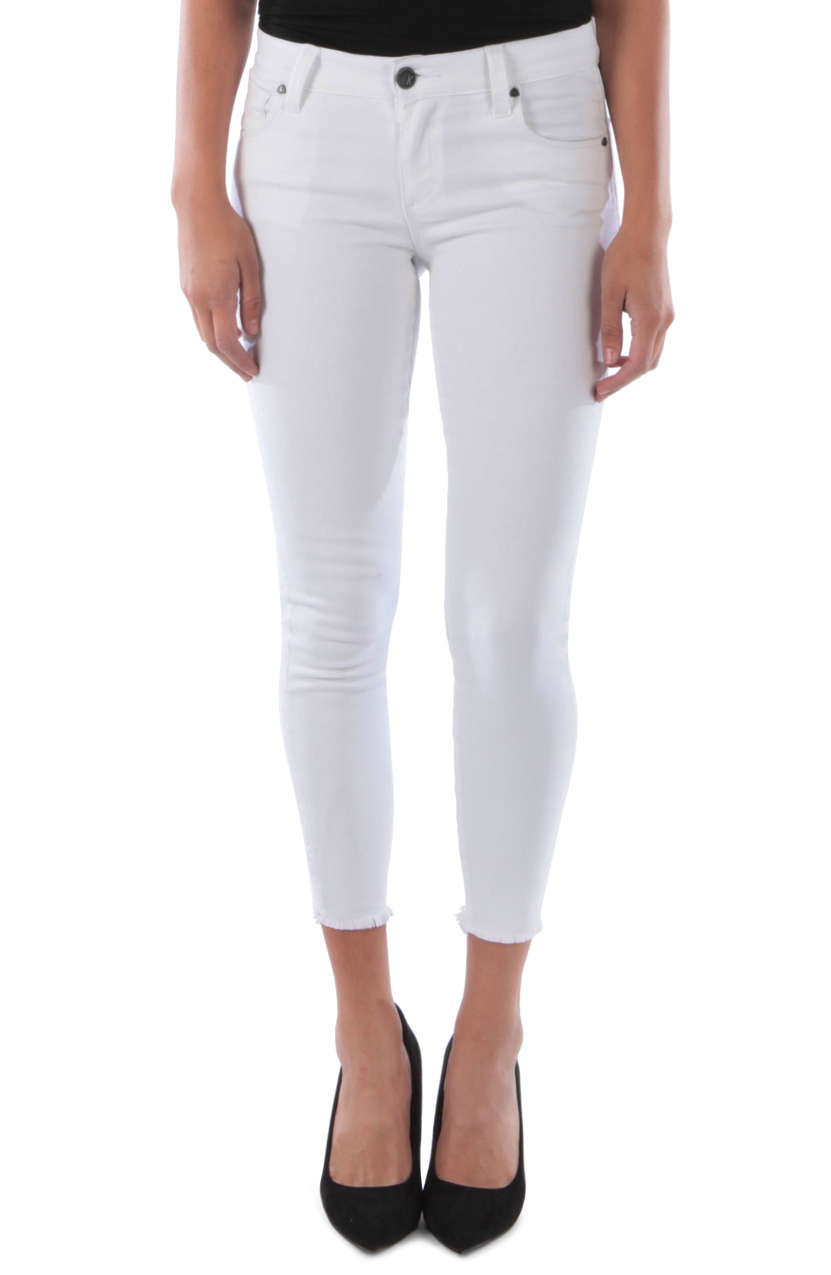 KUT FROM THE KLOTH Connie Frayed Ankle Skinny Jeans, Main, color, OPTICAL WHITE