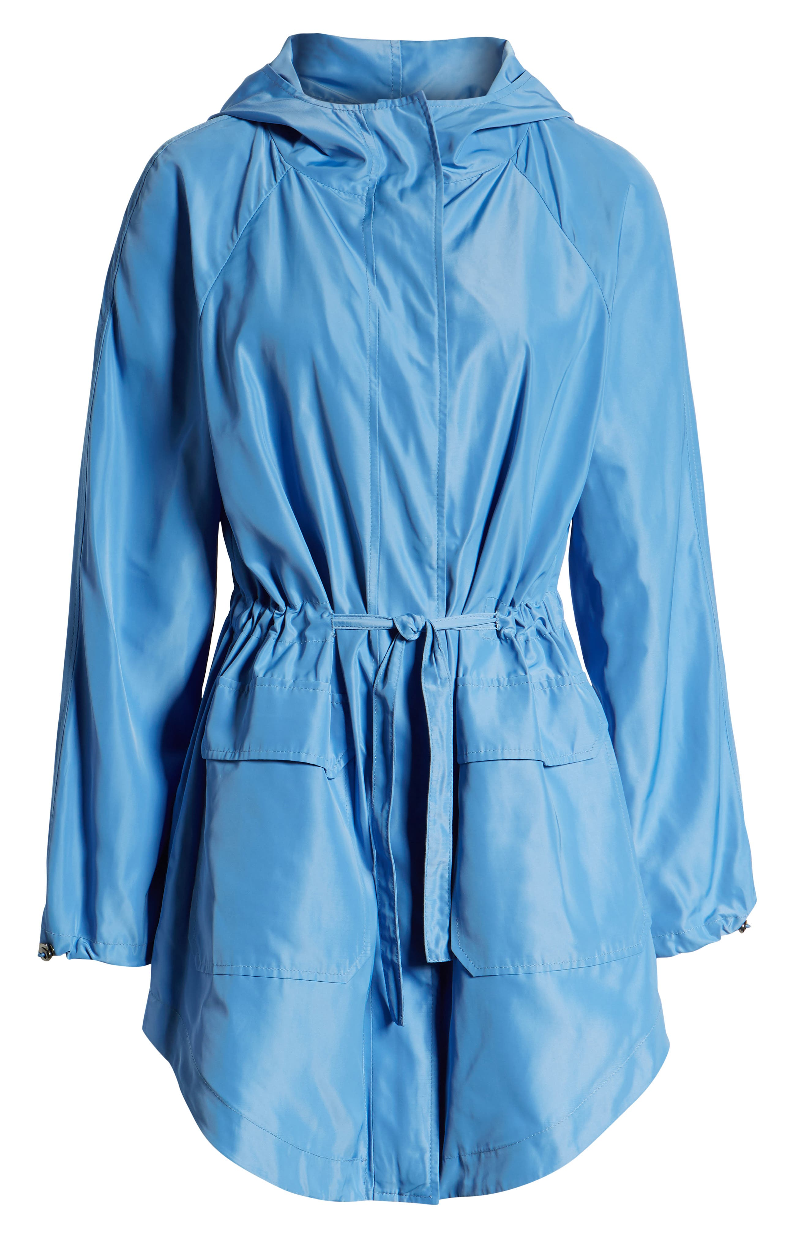 SOMETHING NAVY, Belted Parka, Alternate thumbnail 7, color, PERI