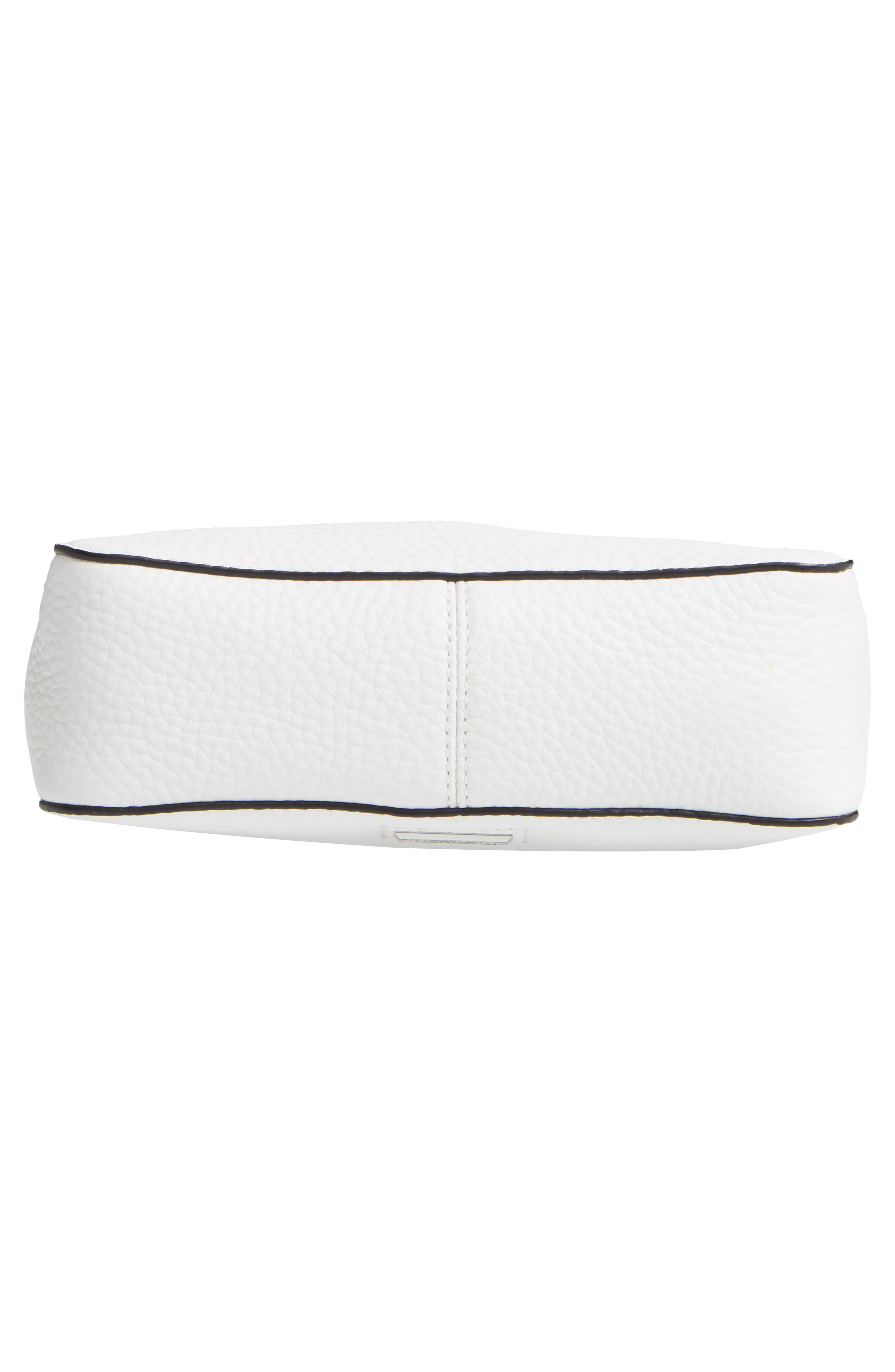REBECCA MINKOFF, Small Studded Leather Feed Bag, Alternate thumbnail 8, color, OPTIC WHITE