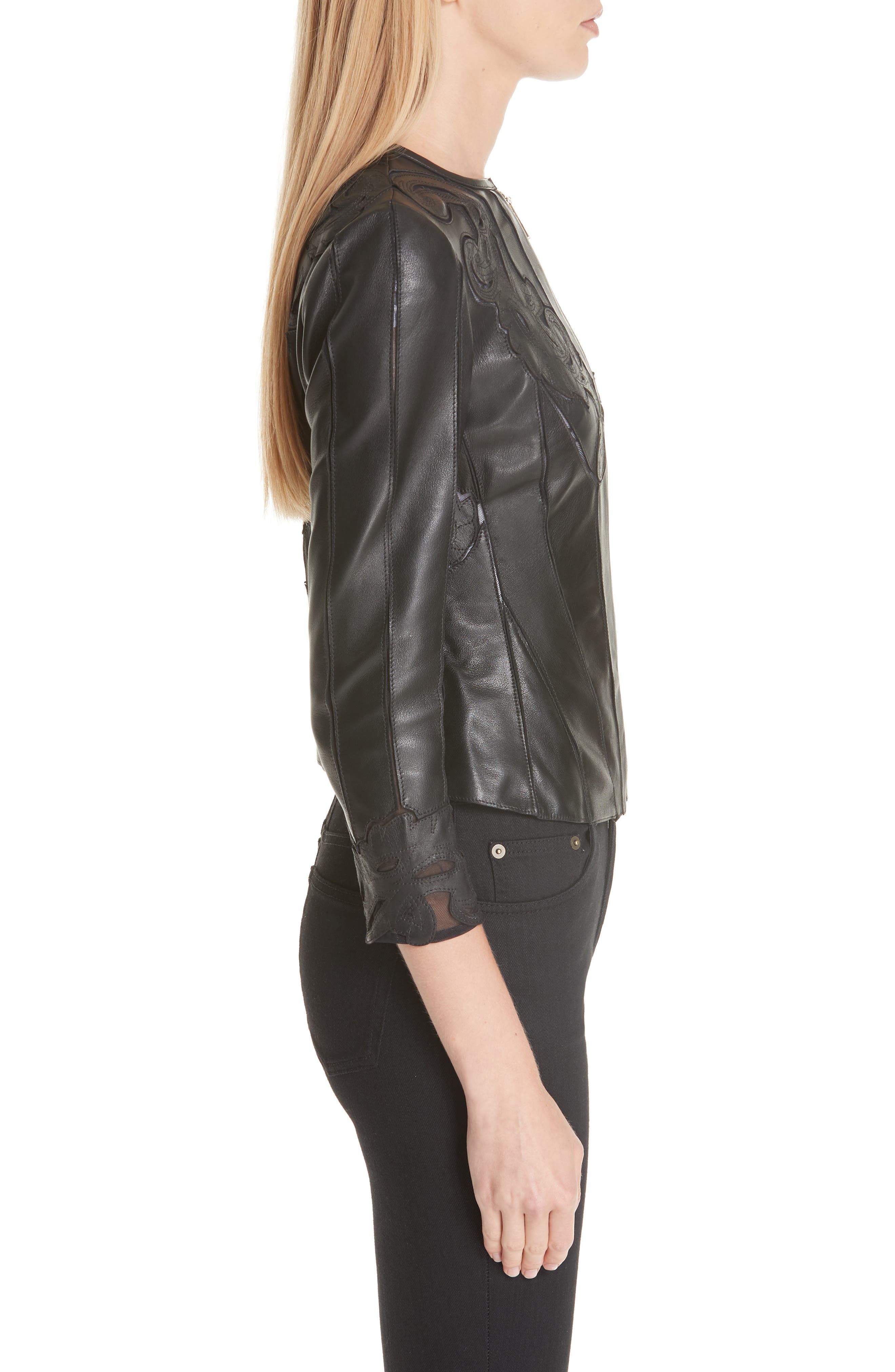 VERSACE COLLECTION, Fitted Leather Jacket, Alternate thumbnail 4, color, BLACK