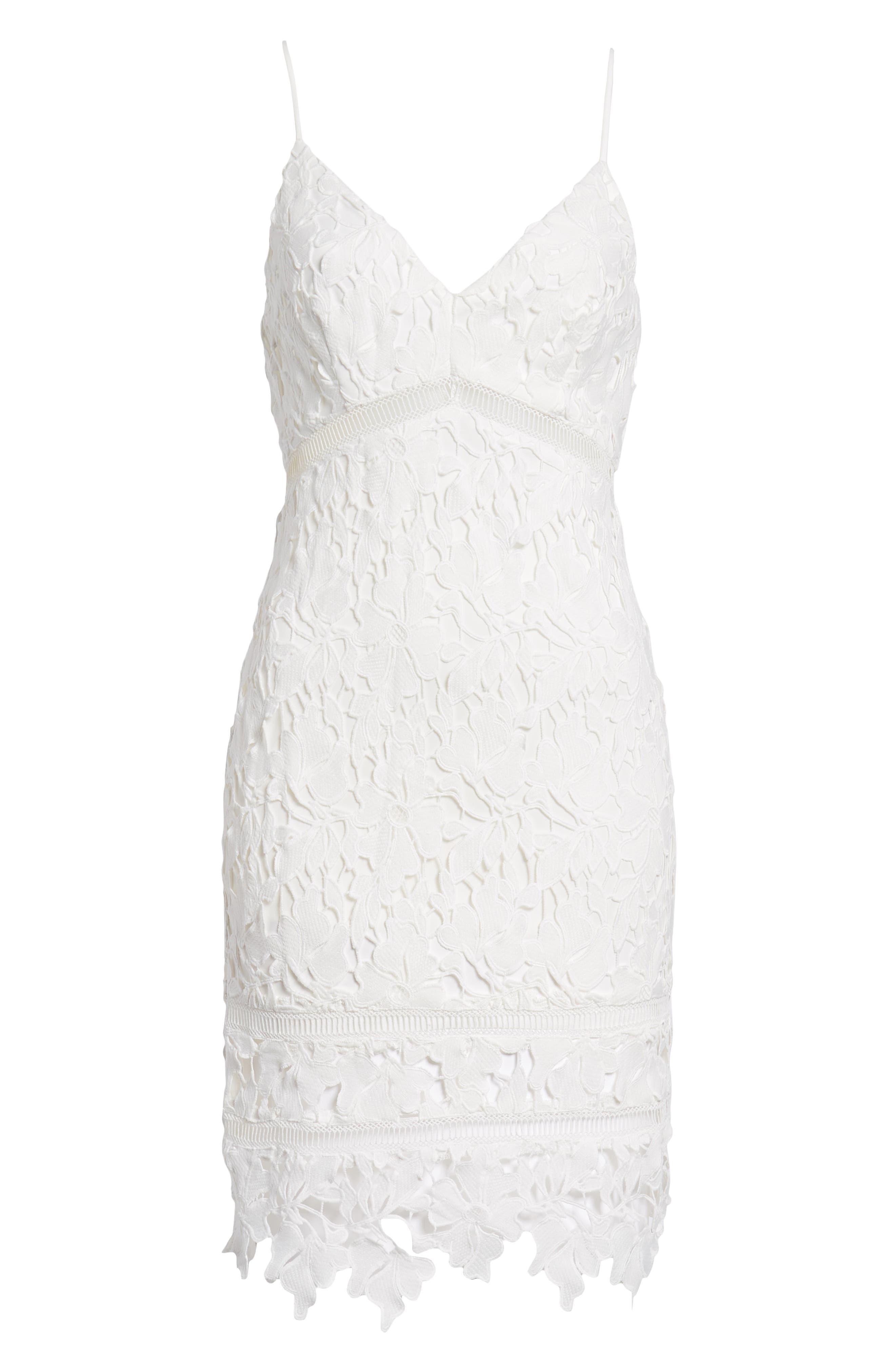 ASTR THE LABEL, ASTR Lace Bodycon Dress, Alternate thumbnail 7, color, WHITE