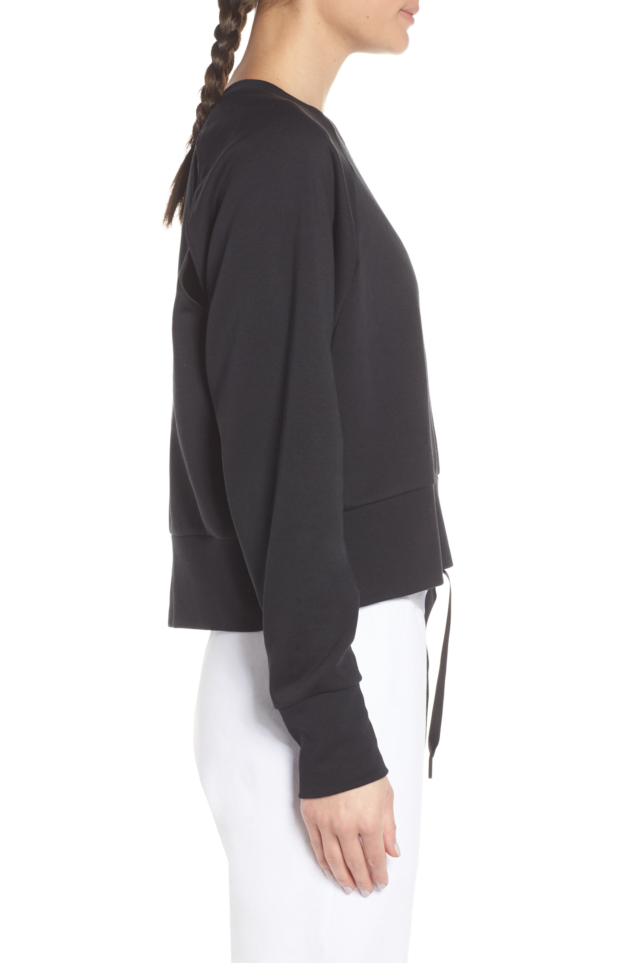 NIKE, Dry Crop Training Sweatshirt, Alternate thumbnail 4, color, BLACK/ WHITE