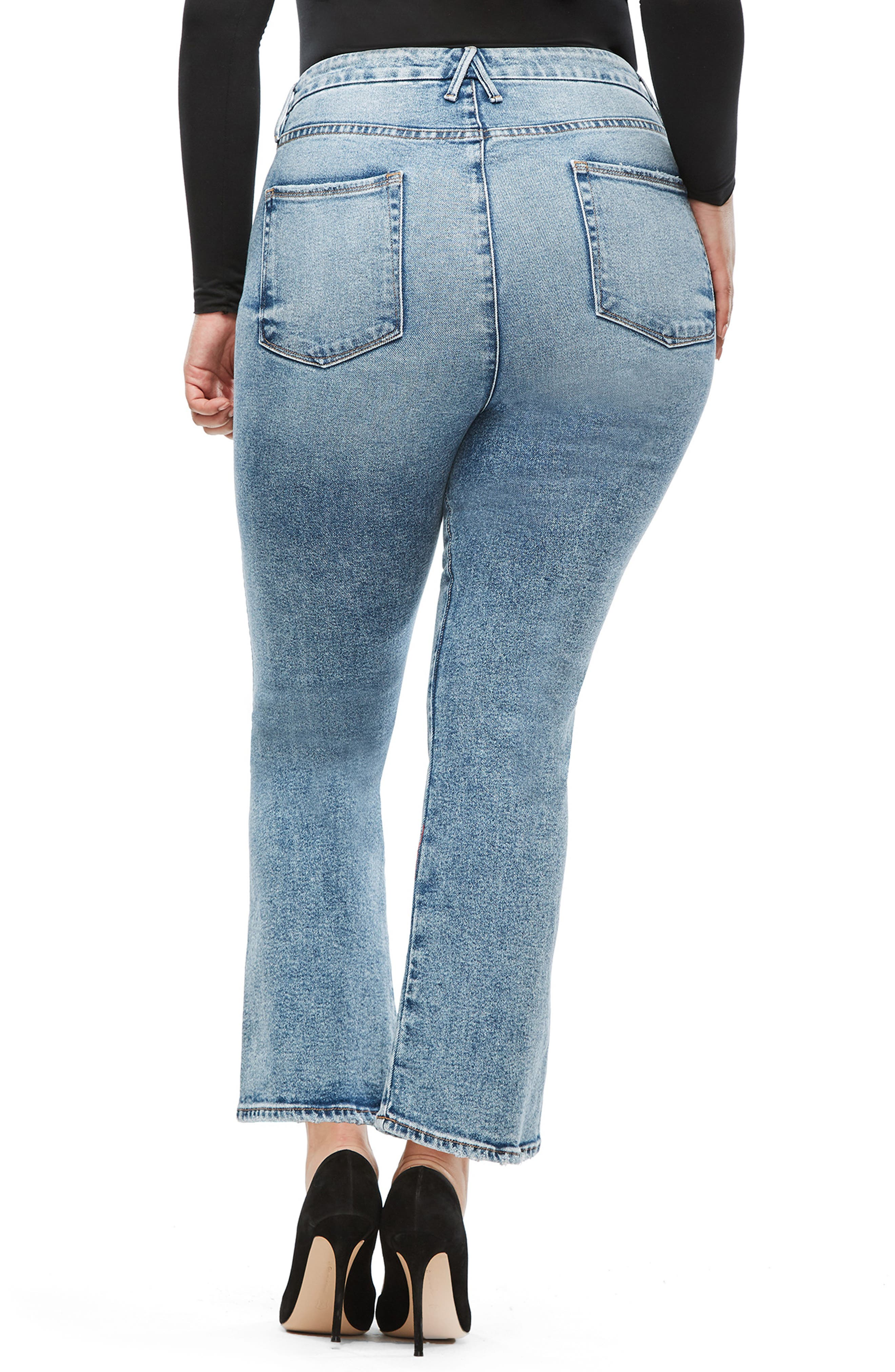 GOOD AMERICAN, Good Curve High Waist Ankle Straight Leg Jeans, Alternate thumbnail 7, color, 401