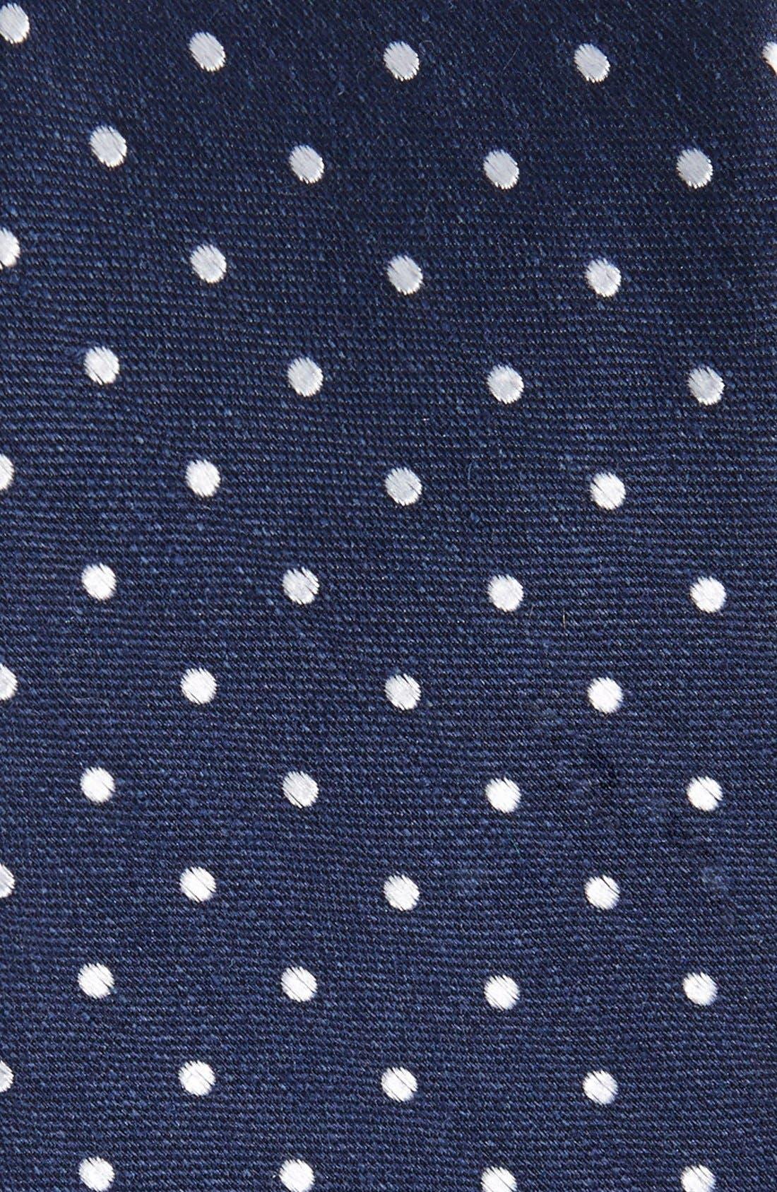 THE TIE BAR, Dot Silk & Linen Tie, Alternate thumbnail 2, color, NAVY