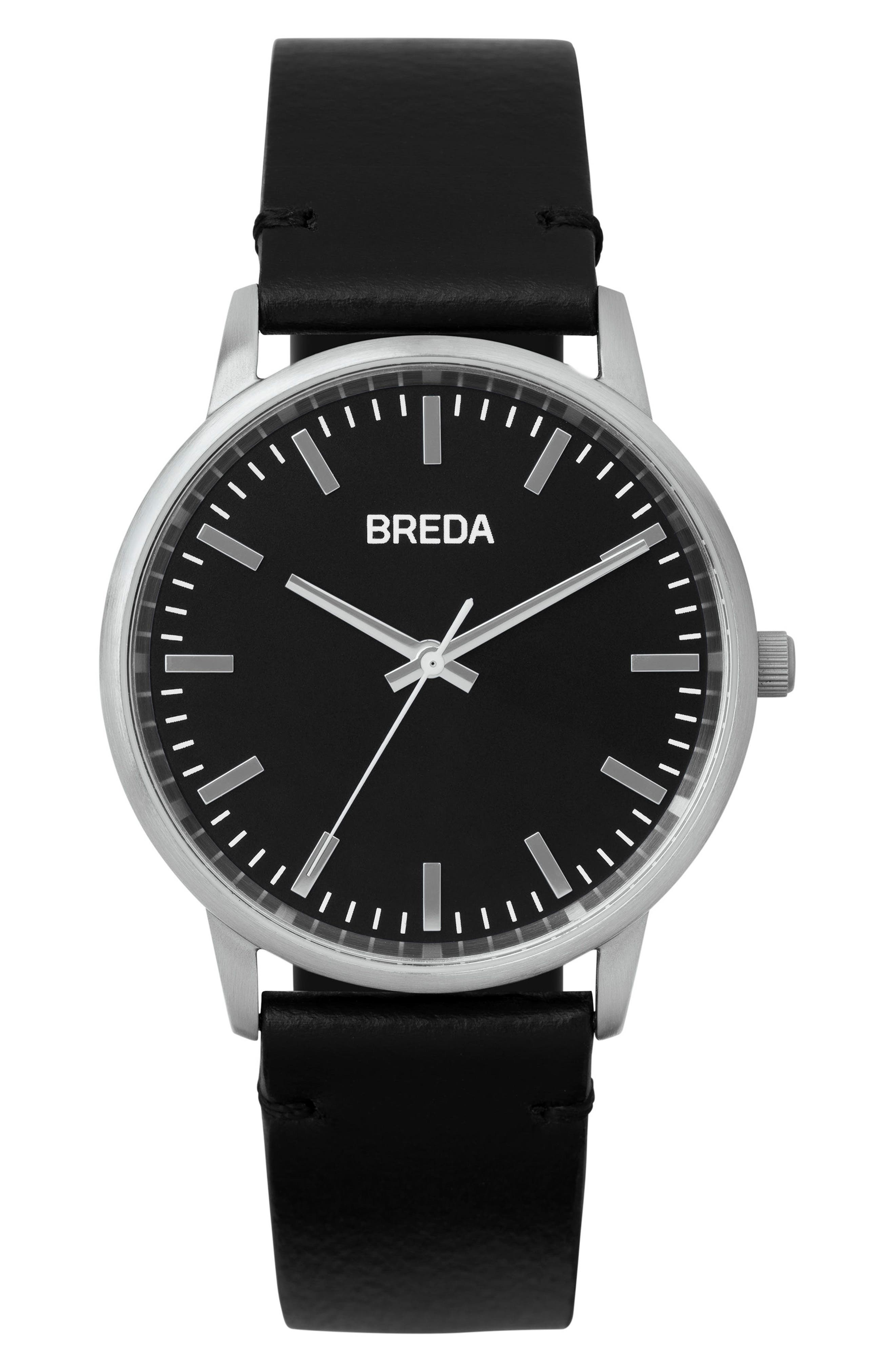 BREDA, Zapf Leather Strap Watch, 39mm, Main thumbnail 1, color, 001