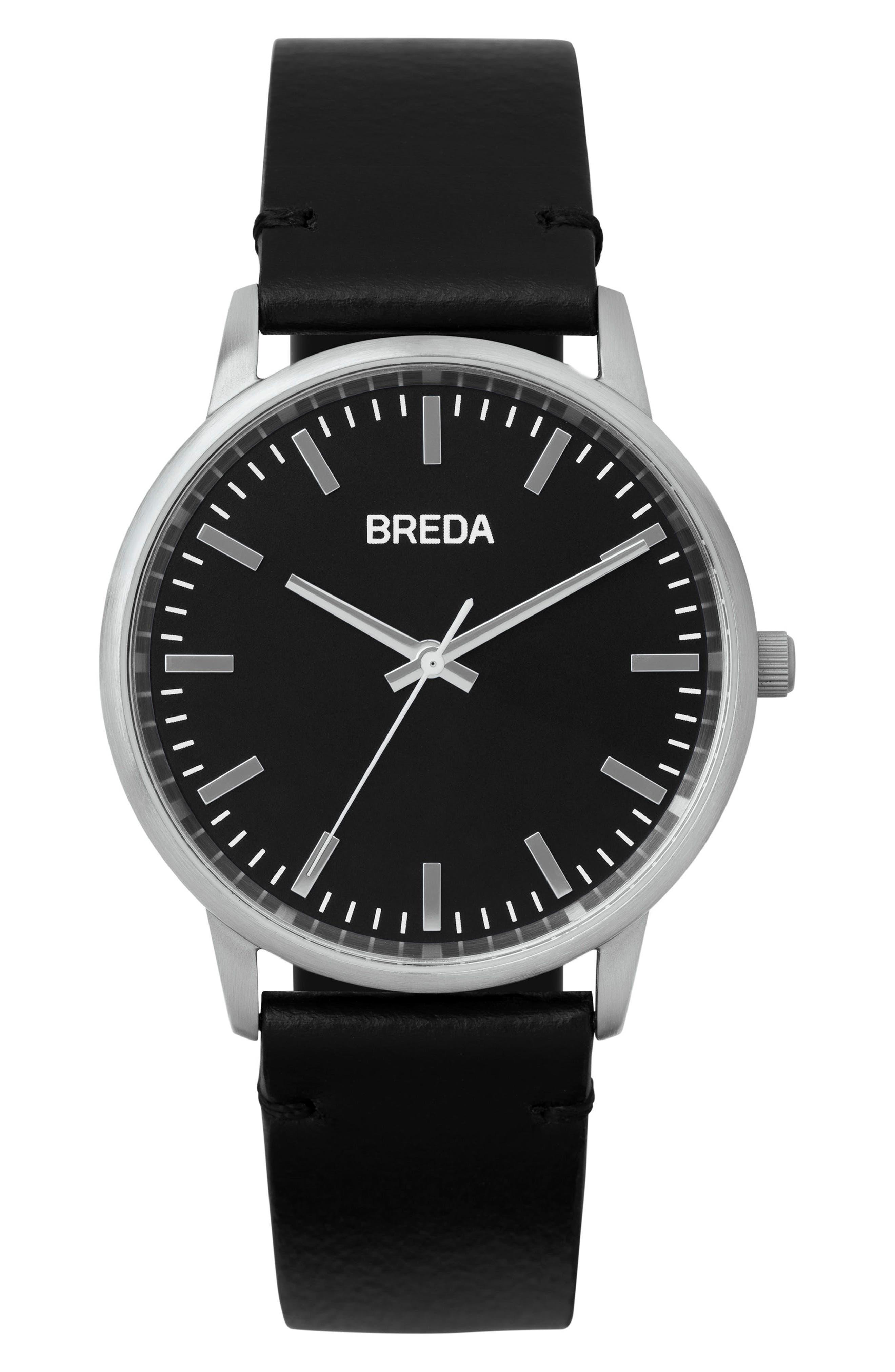 BREDA Zapf Leather Strap Watch, 39mm, Main, color, 001