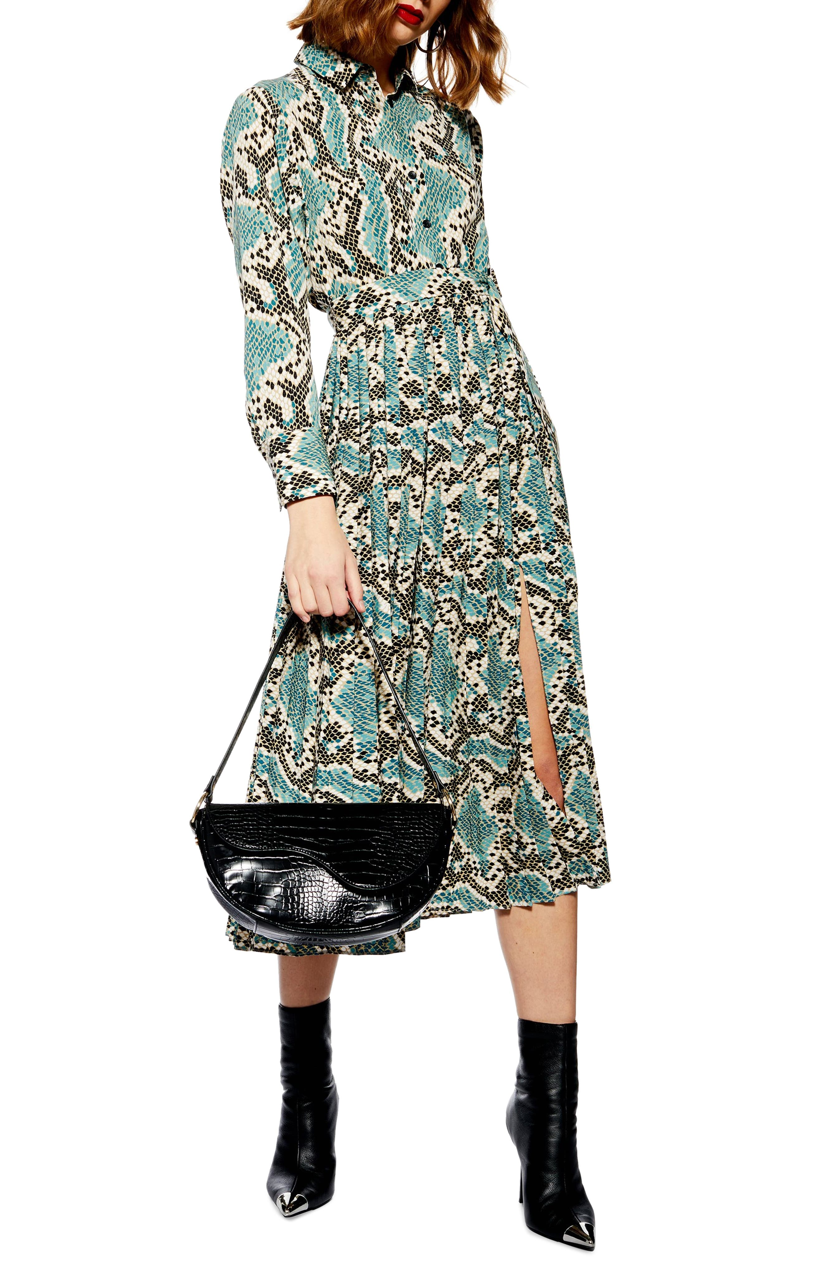 TOPSHOP, Python Pleated Shirtdress, Main thumbnail 1, color, BLUE MULTI