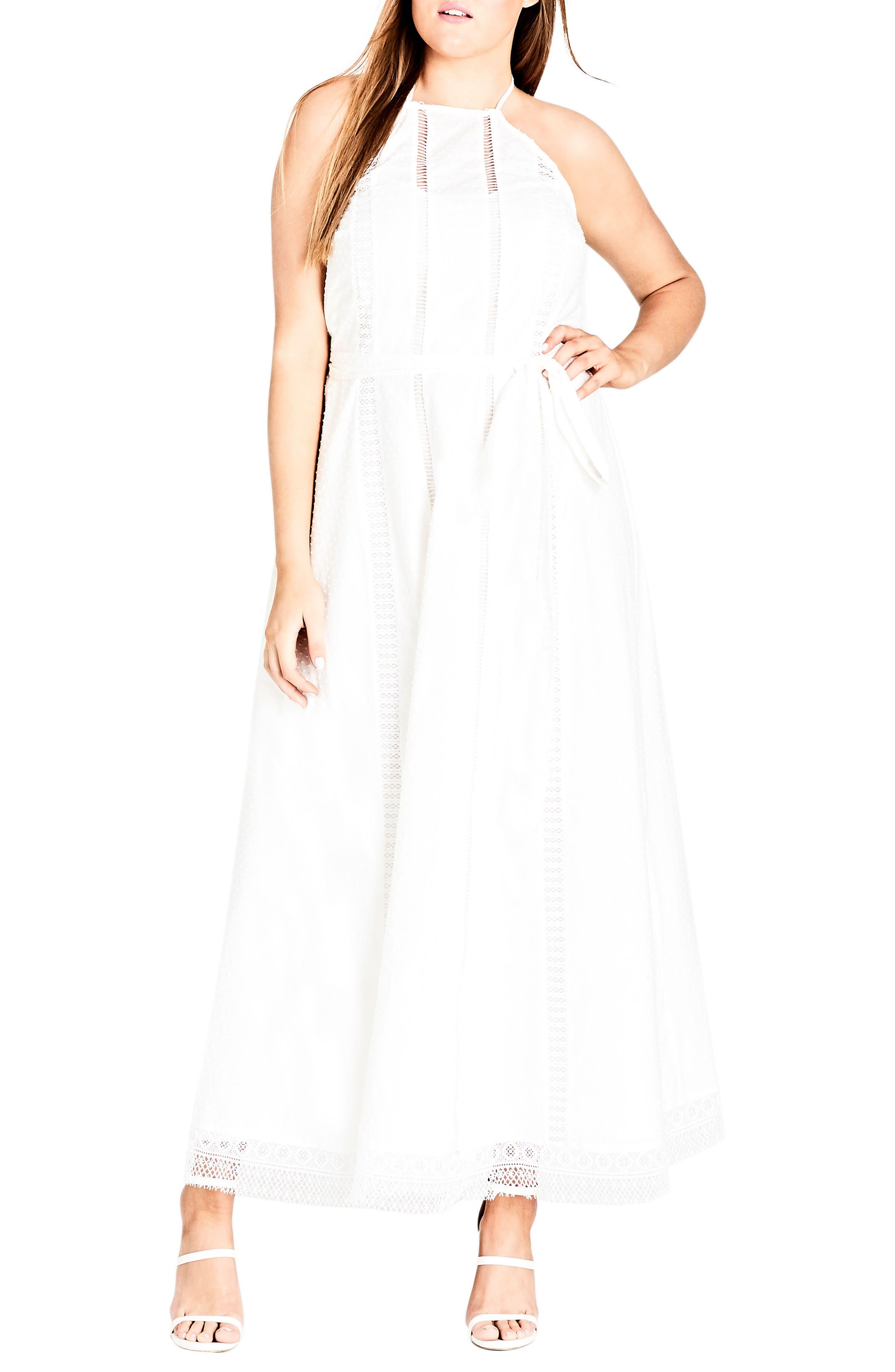 Plus Size City Chic Lace Trim Swiss Dot Halter Maxi Dress, Ivory