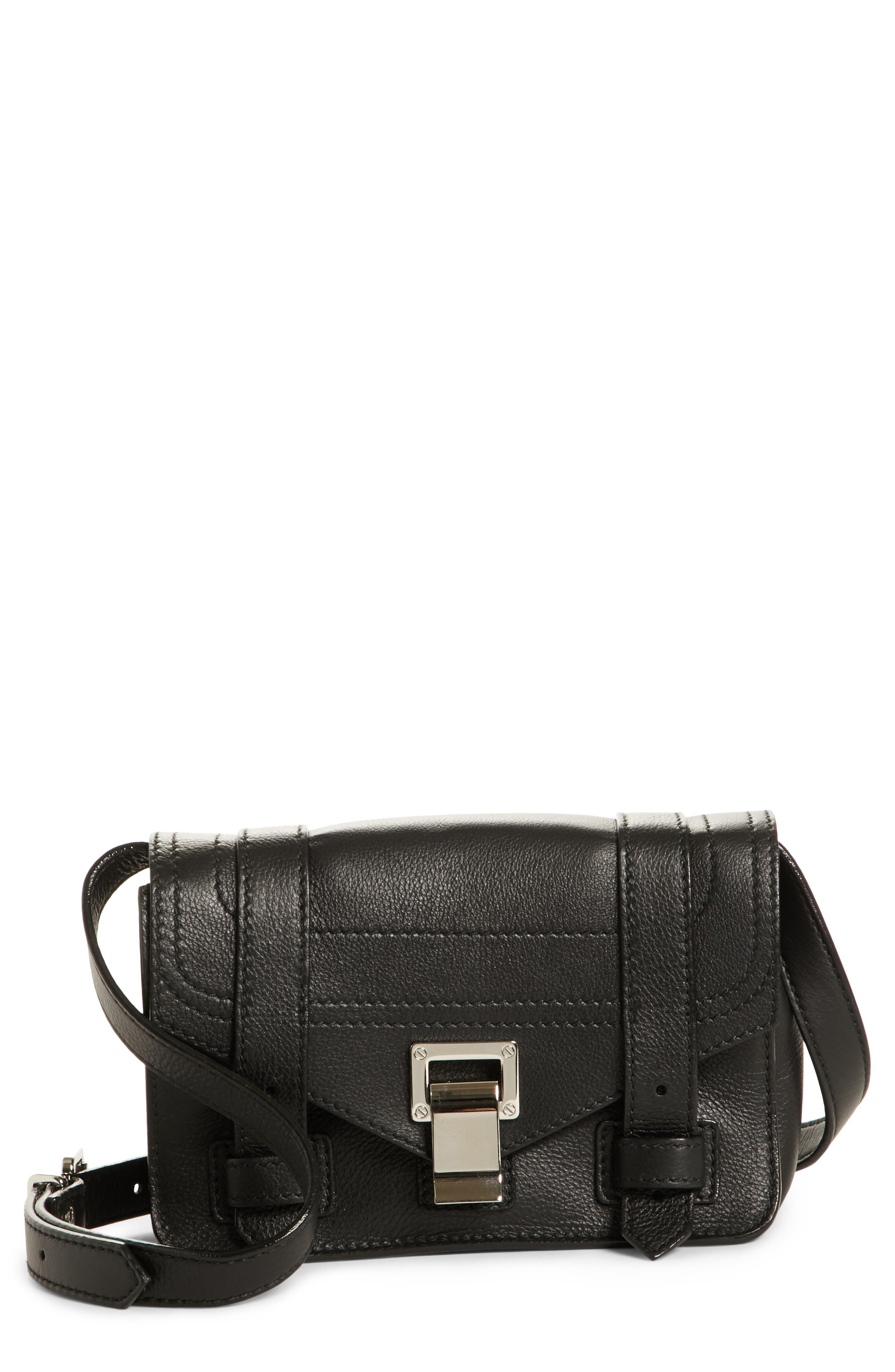 PROENZA SCHOULER, Mini PS1 Leather Crossbody Bag, Main thumbnail 1, color, BLACK