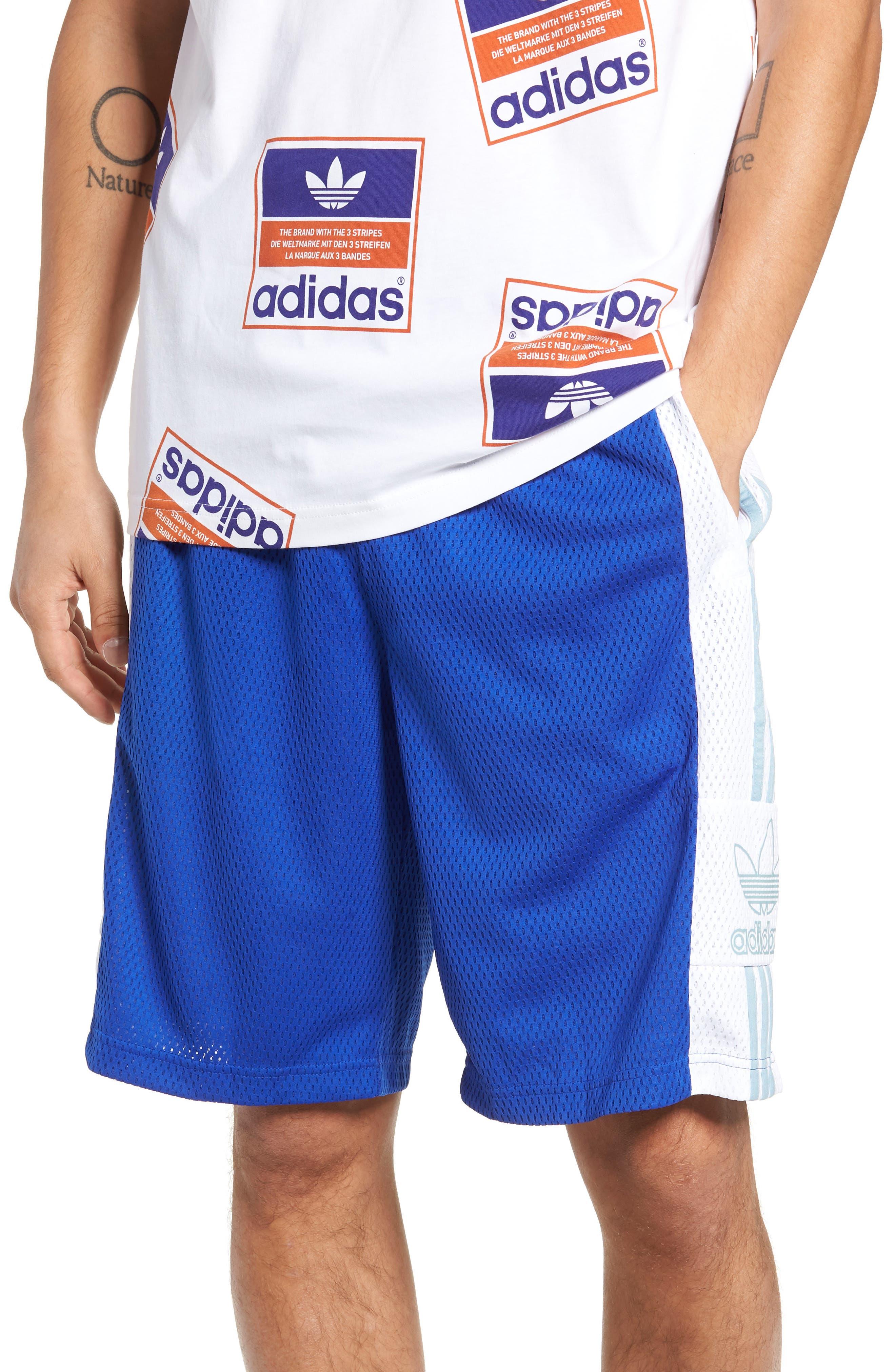 ADIDAS ORIGINALS, Mesh Athletic Shorts, Main thumbnail 1, color, BOLD BLUE/ WHITE