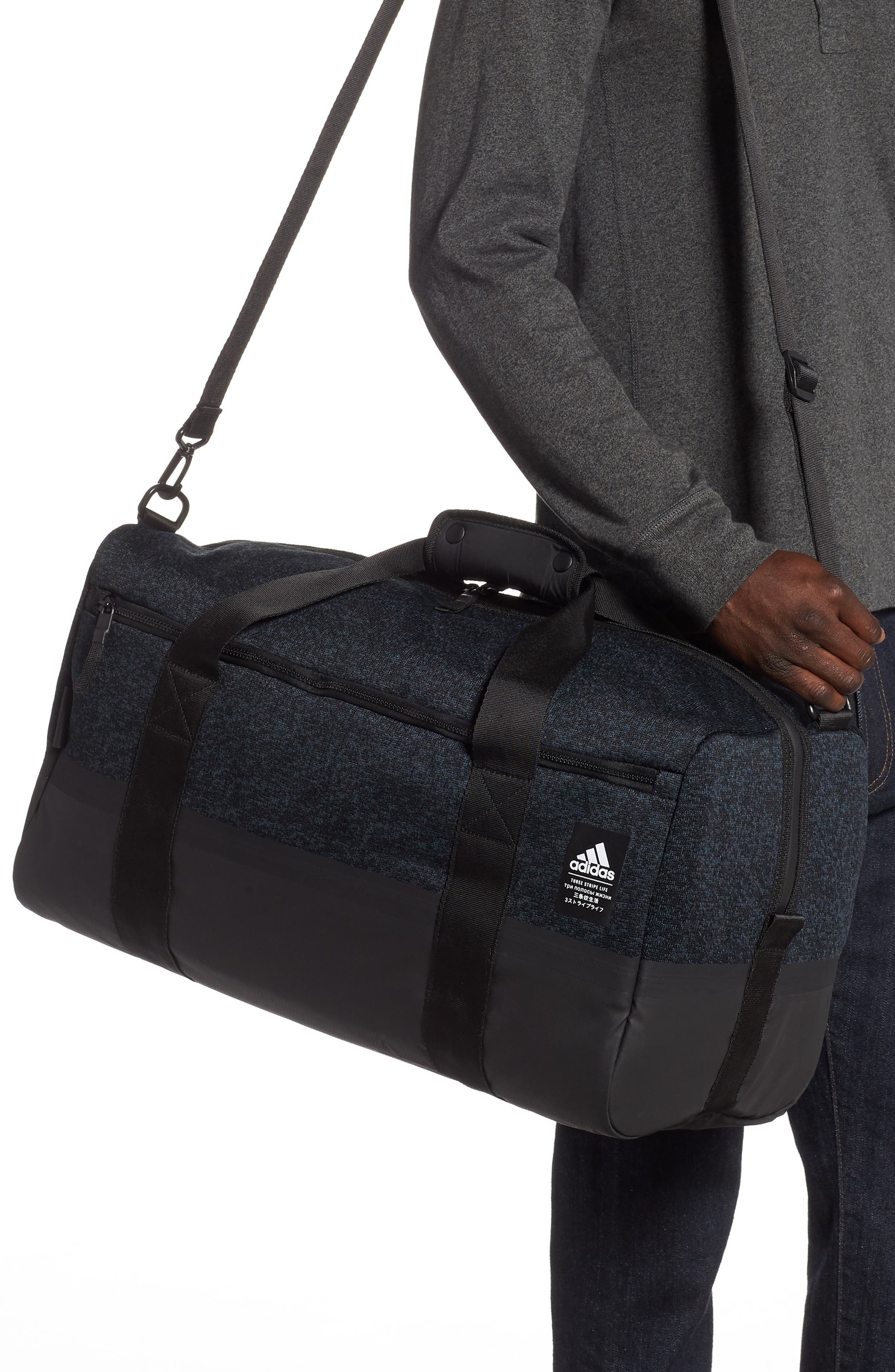 ADIDAS ORIGINALS, PK Amplifier Duffle Bag, Alternate thumbnail 2, color, GREY/ BLACK
