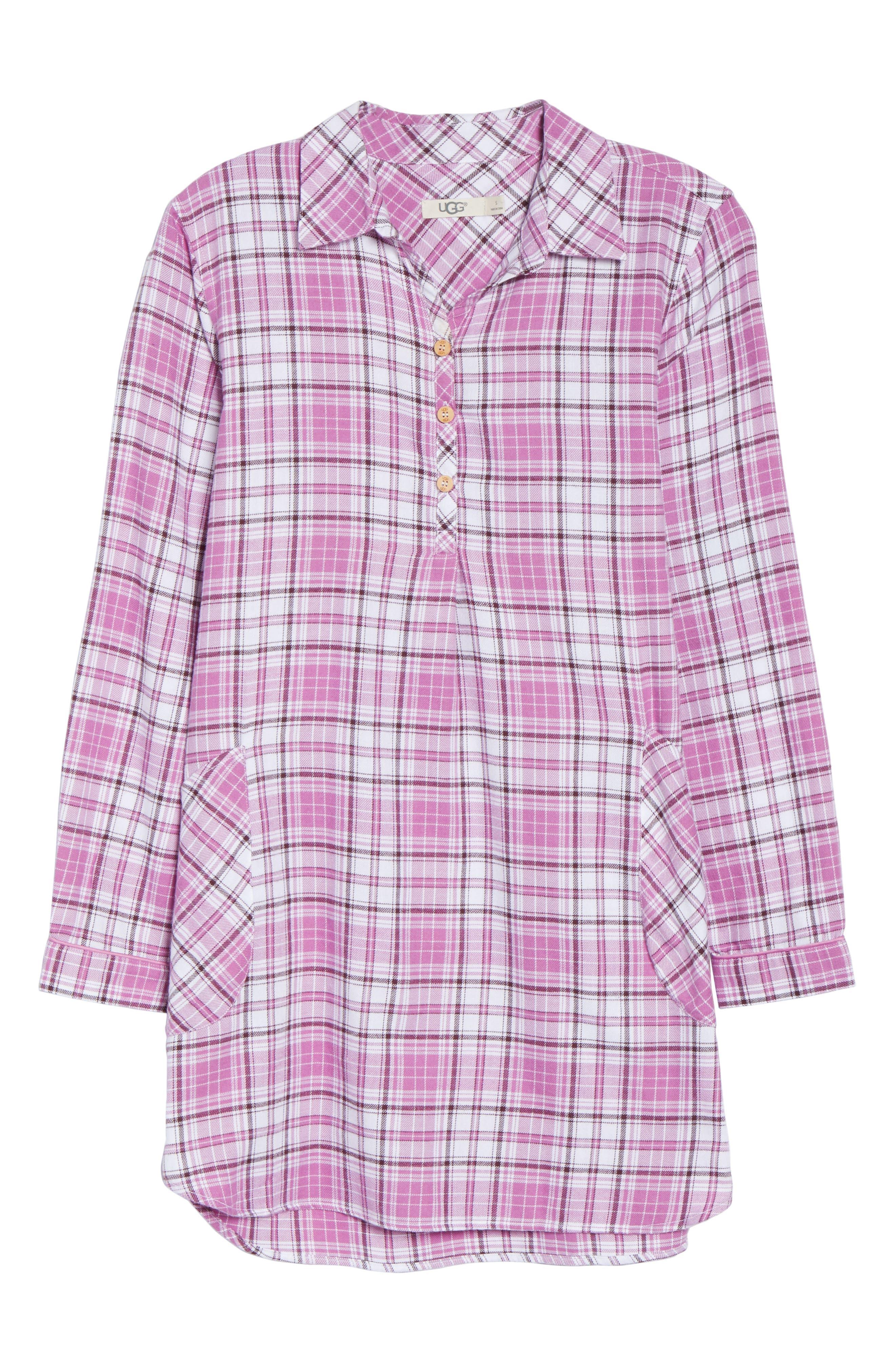UGG<SUP>®</SUP>, Sleep Shirt & Socks Set, Alternate thumbnail 6, color, BODACIOUS PLAID