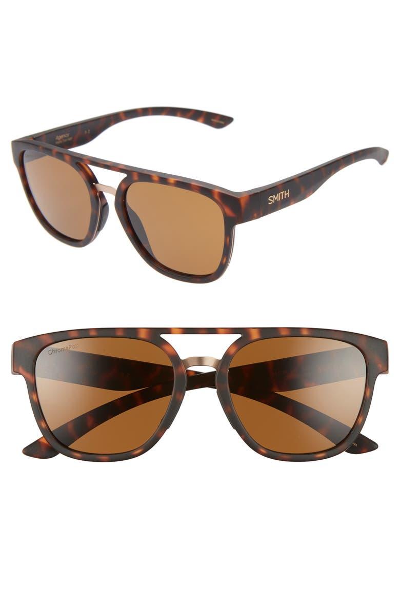 Smith Agency 54mm Chromapop(tm) Polarized Flat Top Sunglasses In Matte Tortoise/ Brown