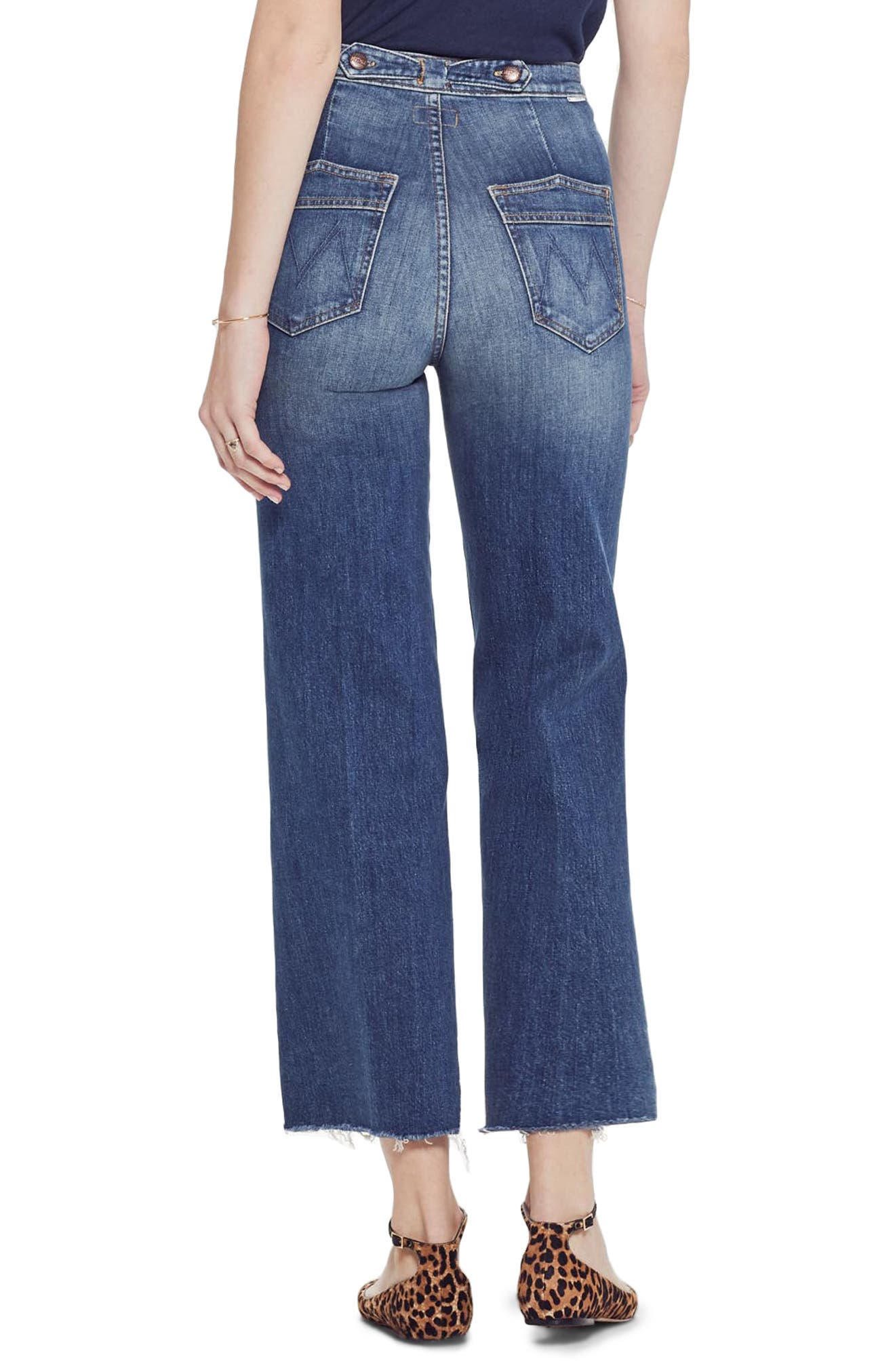 MOTHER, The Loop De Loop Frayed Wide Leg Jeans, Alternate thumbnail 2, color, JUST ONE SIP
