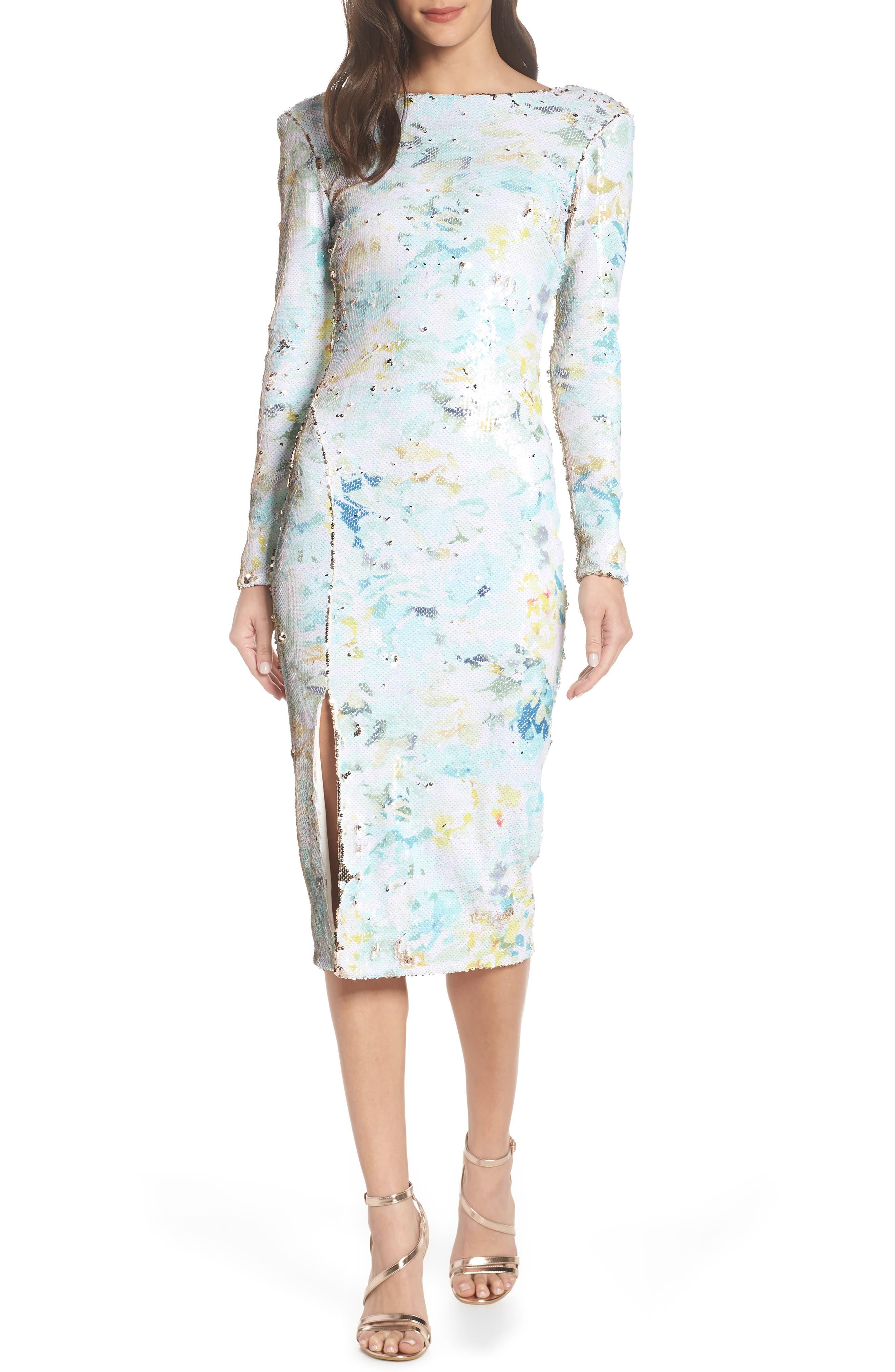 DRESS THE POPULATION, Natalie Scoop Back Sequin Dress, Alternate thumbnail 4, color, IVORY/ SAGE/ GOLD