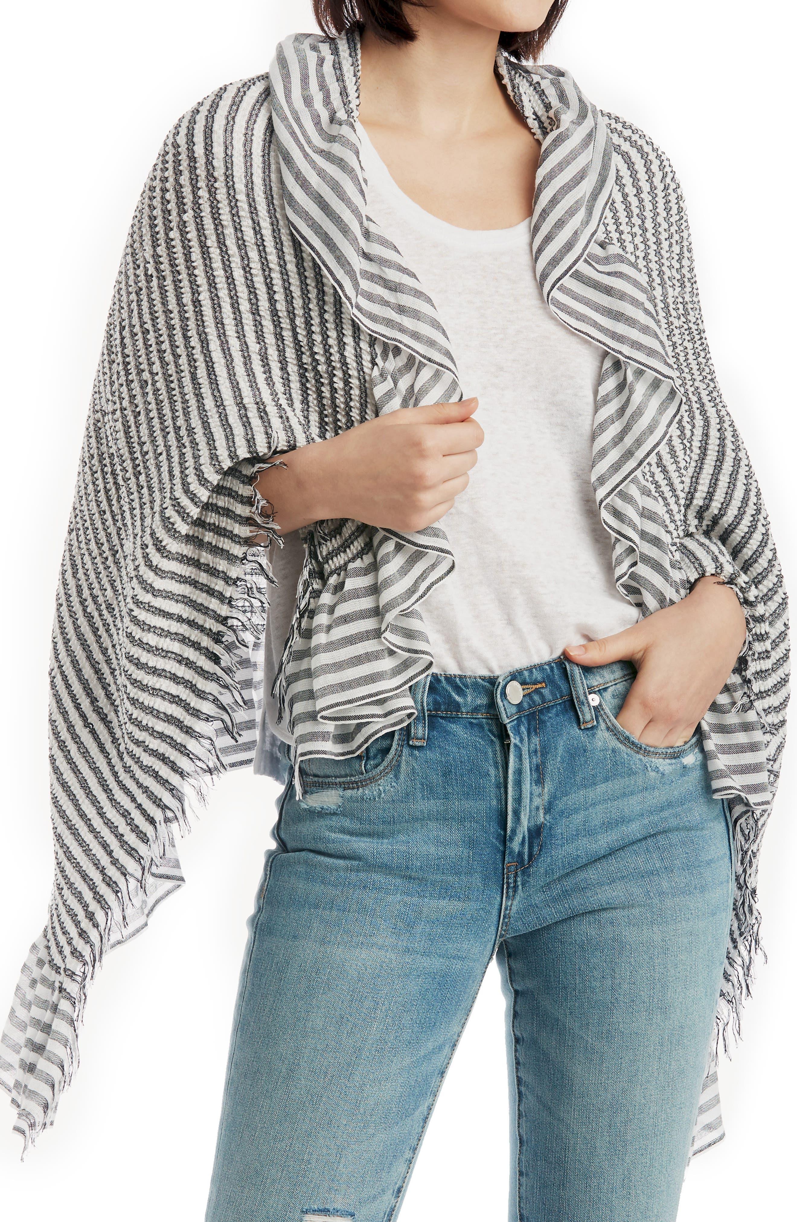 SOLE SOCIETY, Oversized Stripe Wrap, Main thumbnail 1, color, BLACK WHITE STRIPE