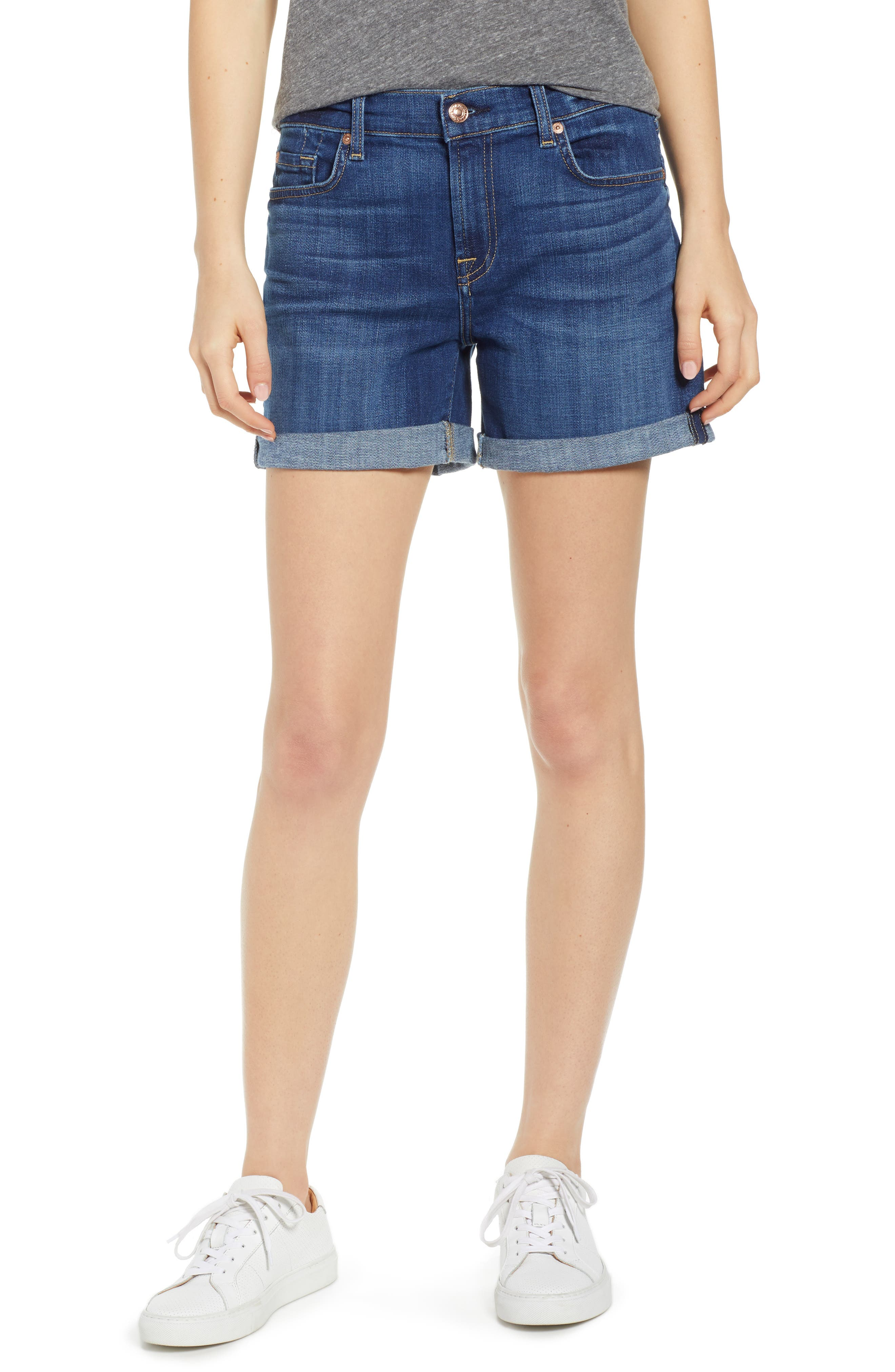 7 FOR ALL MANKIND<SUP>®</SUP> Roll Cuff Denim Shorts, Main, color, BROKEN TWILL VANITY CLEAN