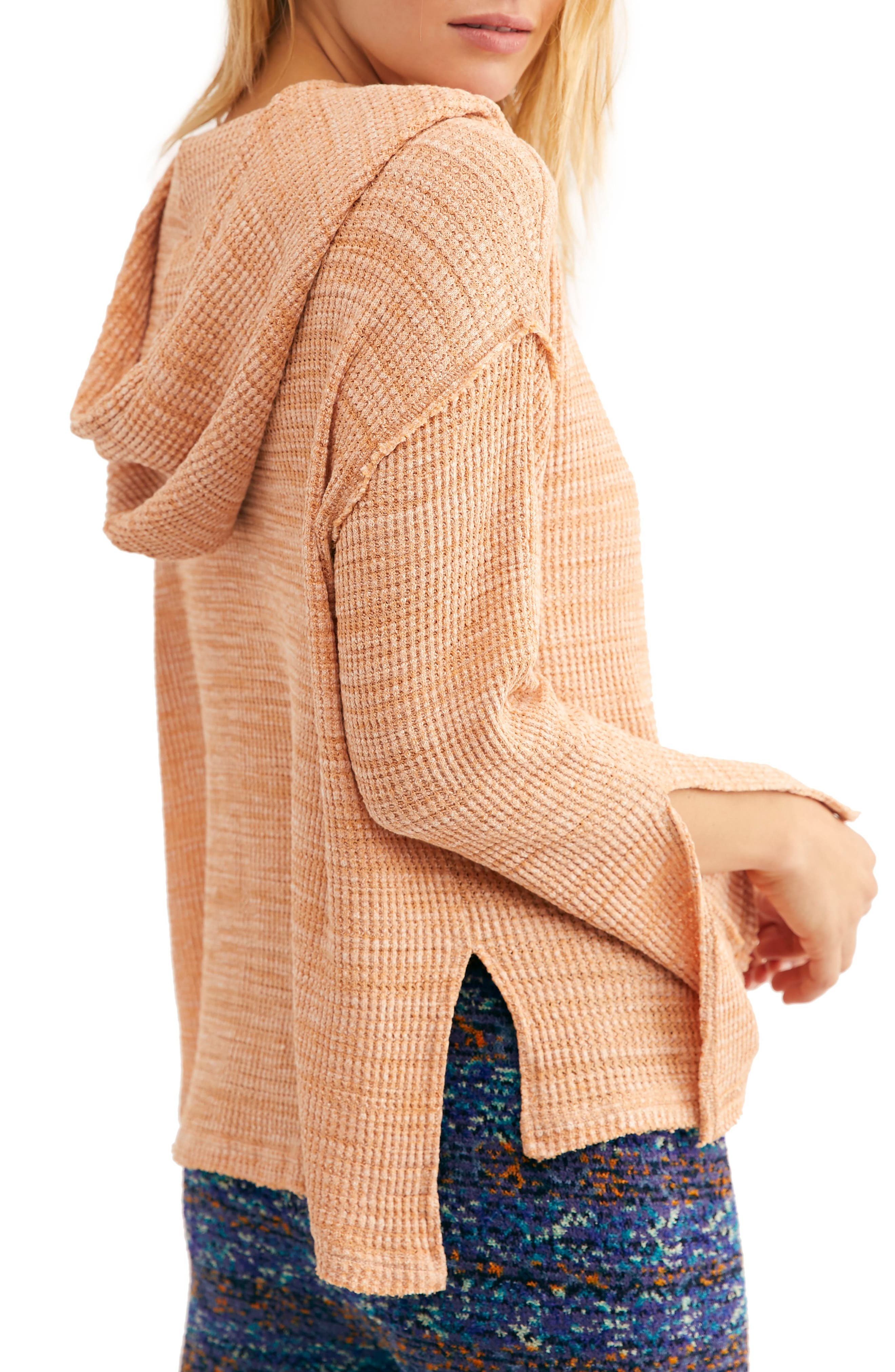 FREE PEOPLE, Endless Summer by Free People Hooded Knit Top, Alternate thumbnail 2, color, ORANGE
