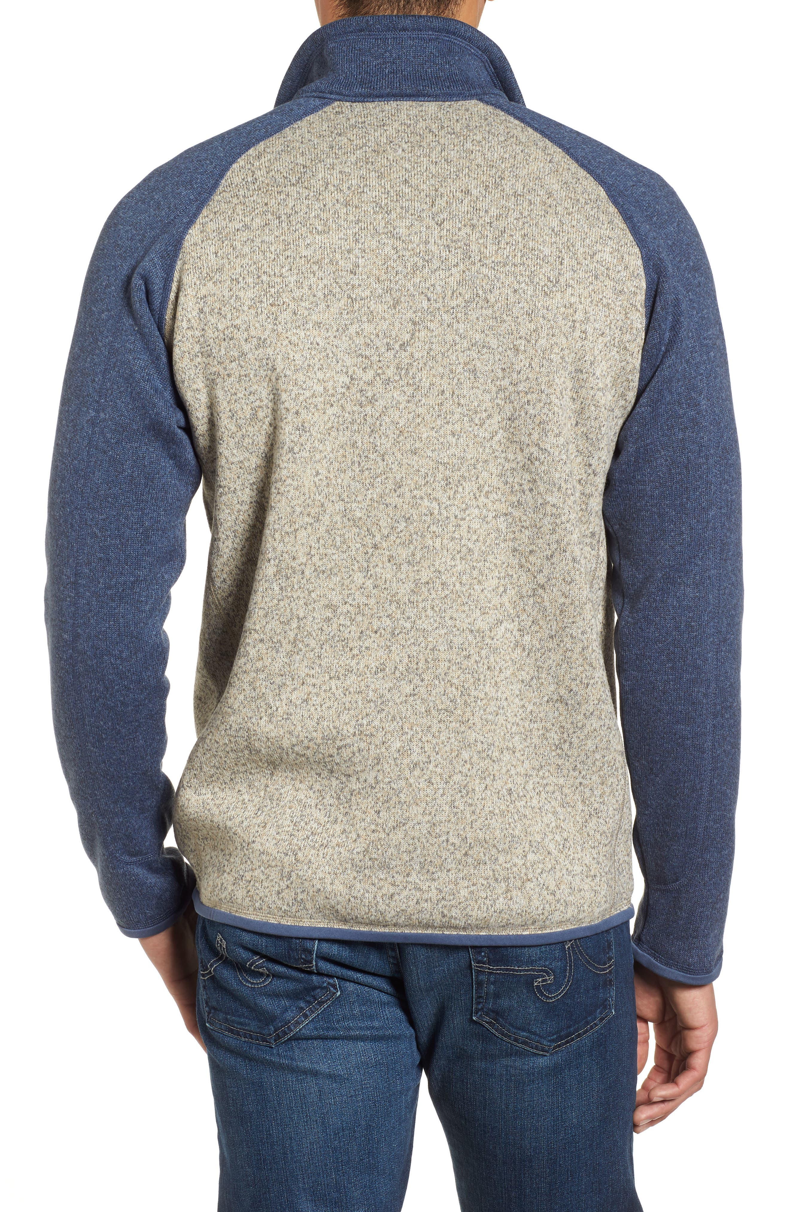 PATAGONIA, Better Sweater Quarter Zip Pullover, Alternate thumbnail 2, color, BLEACHED STONE W/DOLOMITE BLUE