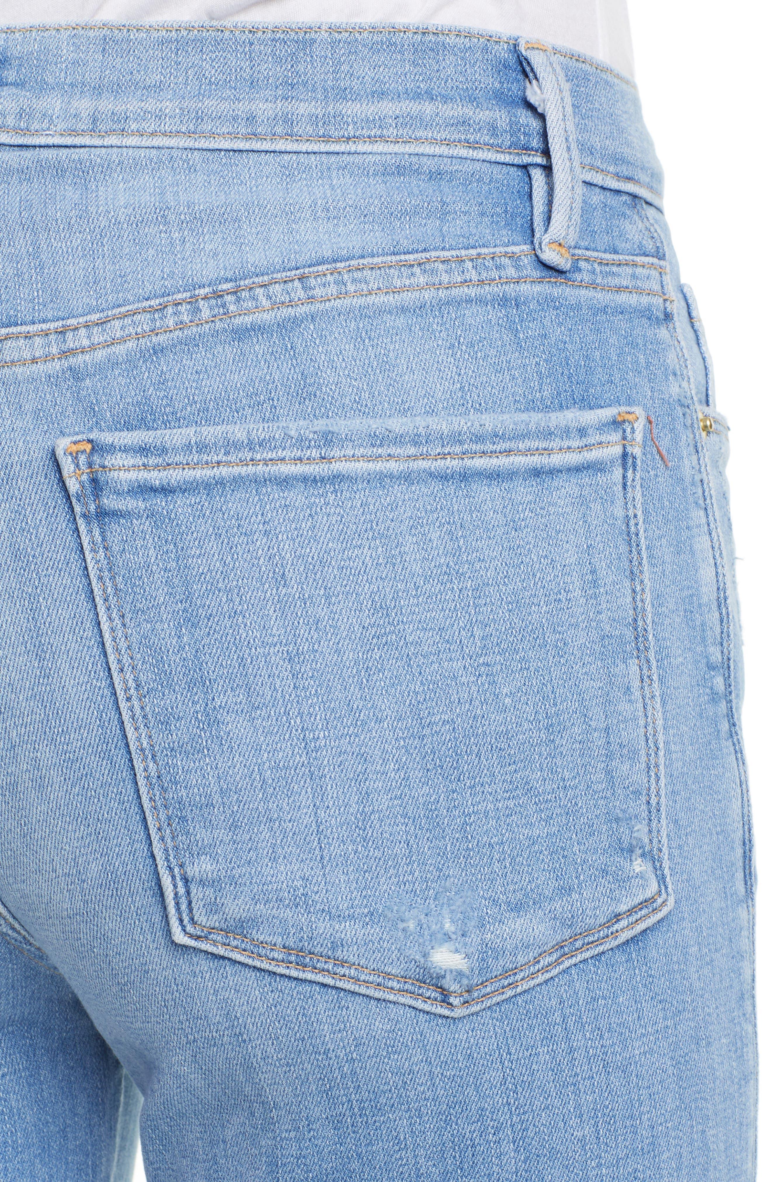 FRAME, Le Sylvie High Waist Raw Hem Straight Leg Jeans, Alternate thumbnail 5, color, OVERDRIVE