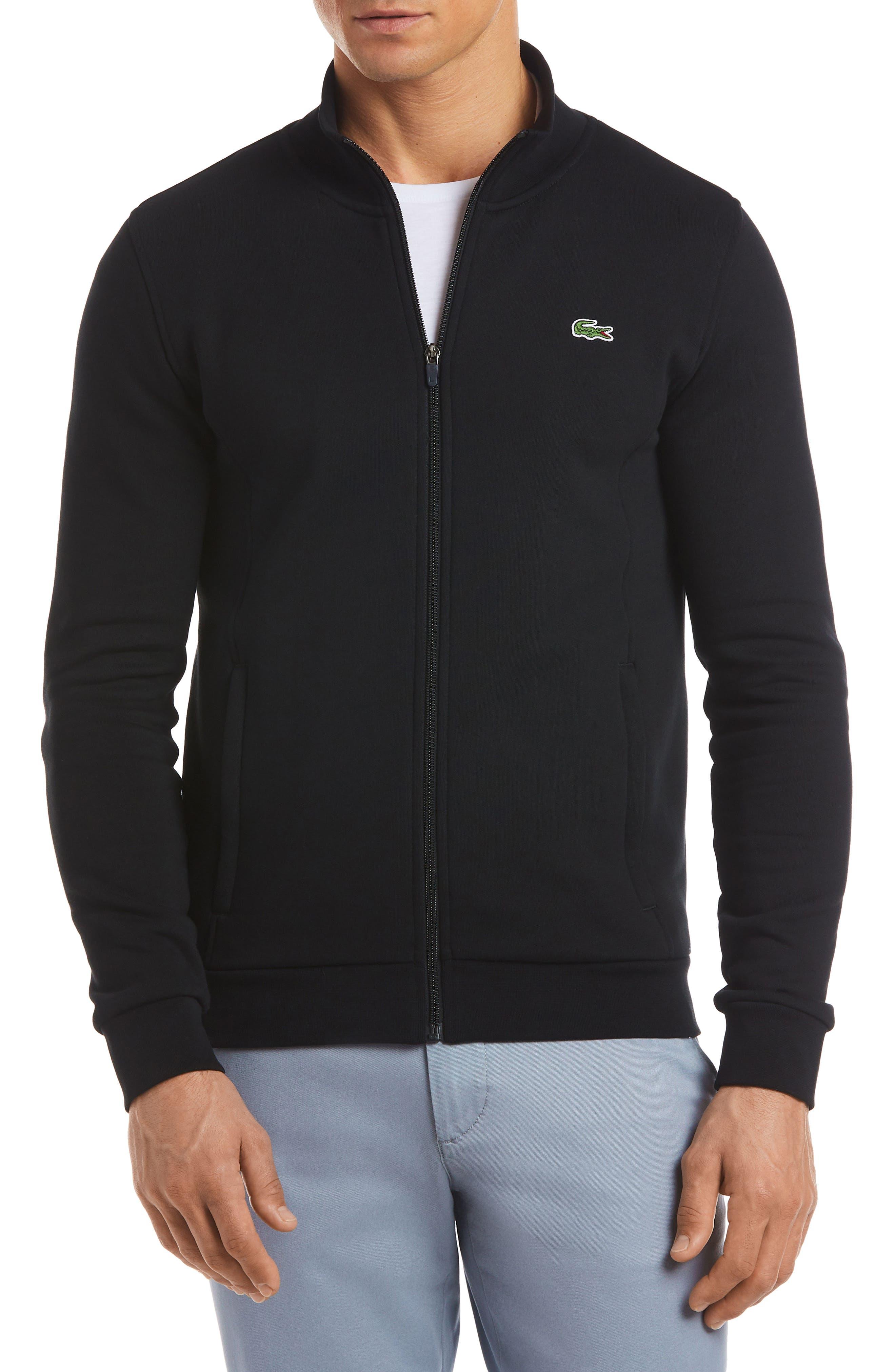 LACOSTE, Fleece Zip Jacket, Main thumbnail 1, color, 001