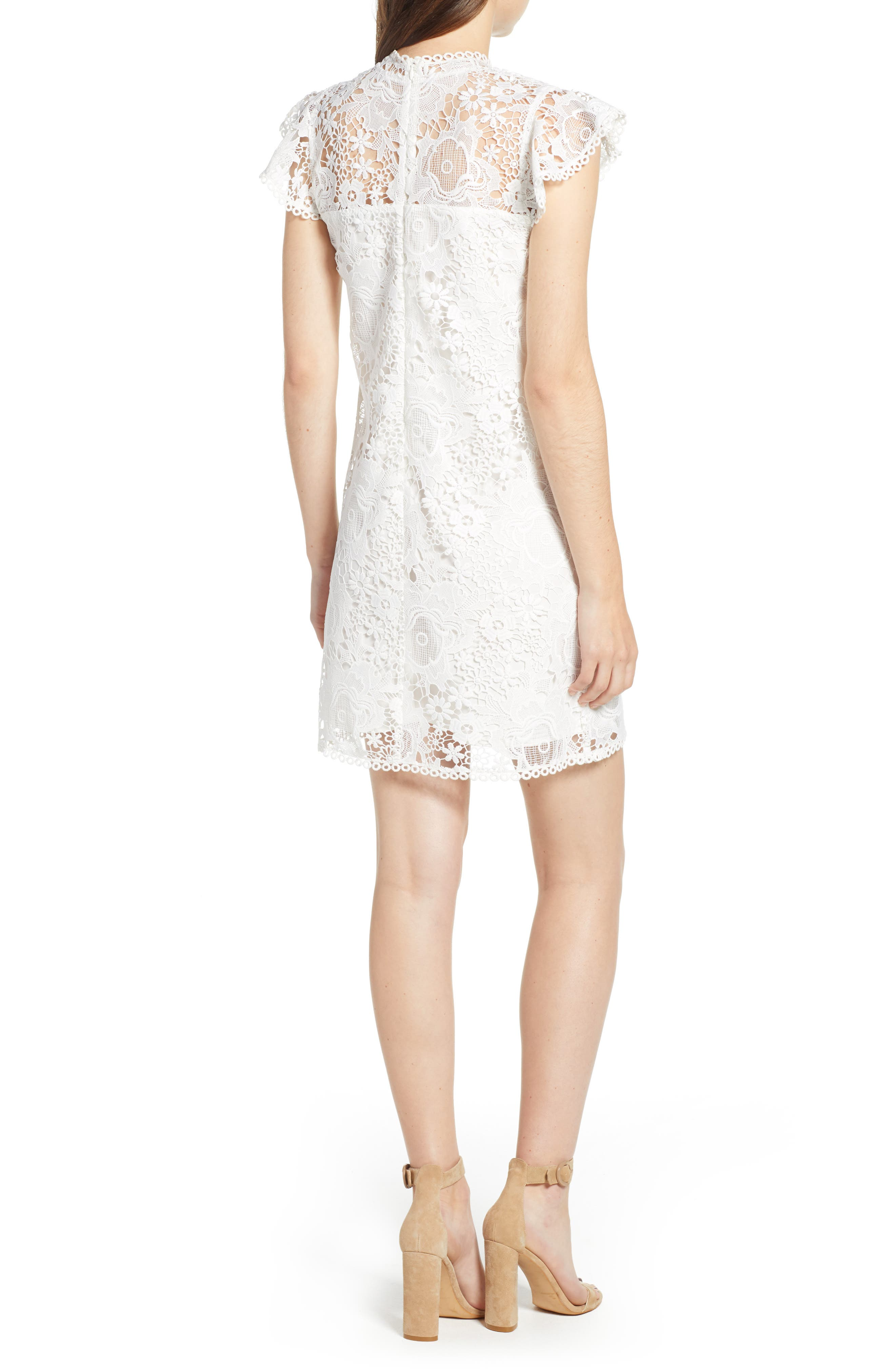 CUPCAKES AND CASHMERE, Floral Lace Shift Dress, Alternate thumbnail 2, color, WHITE