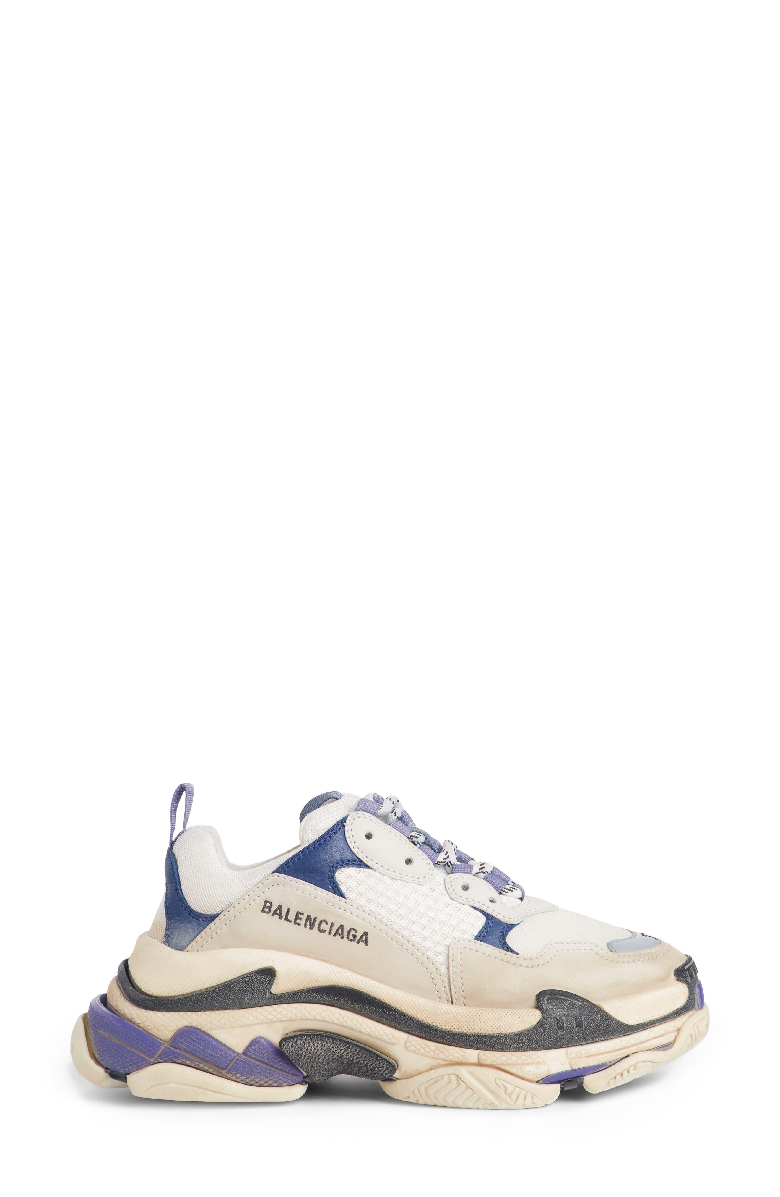 BALENCIAGA, Triple S Sneaker, Alternate thumbnail 3, color, VIOLET/ WHITE/ BLUE