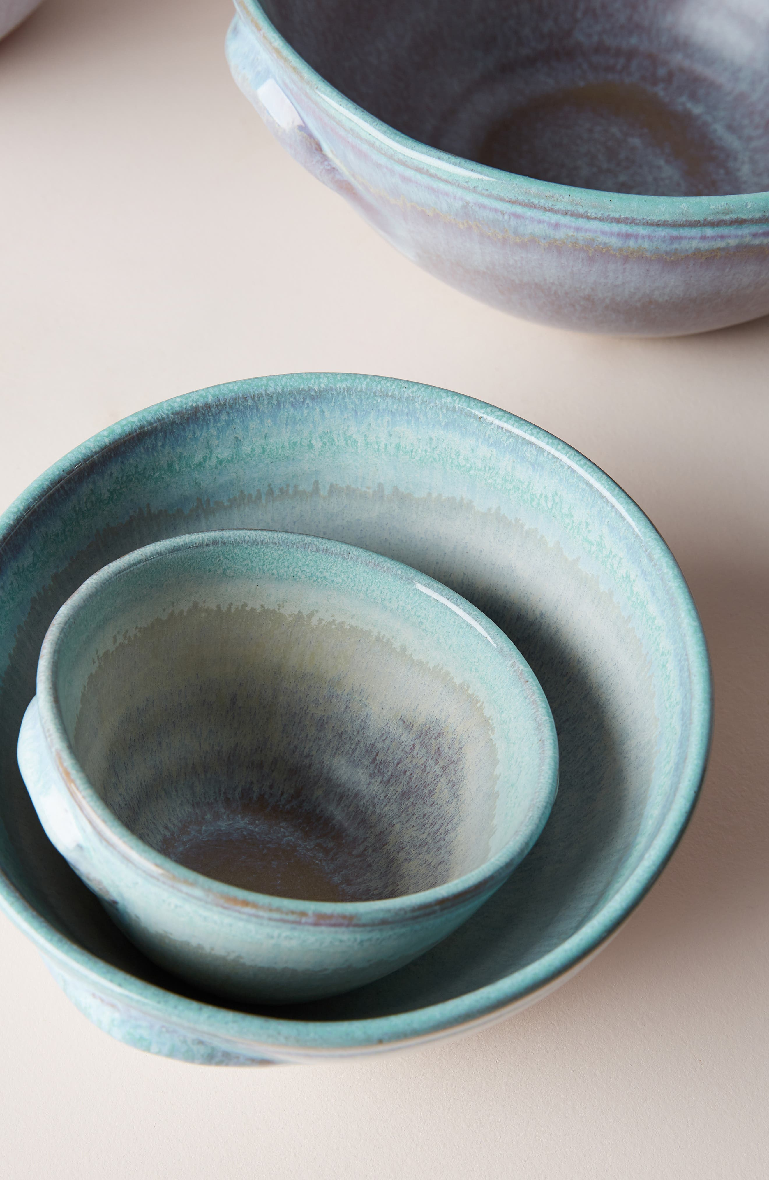 ANTHROPOLOGIE, Misty Set of 4 Bowls, Alternate thumbnail 2, color, WHITE/ MINT