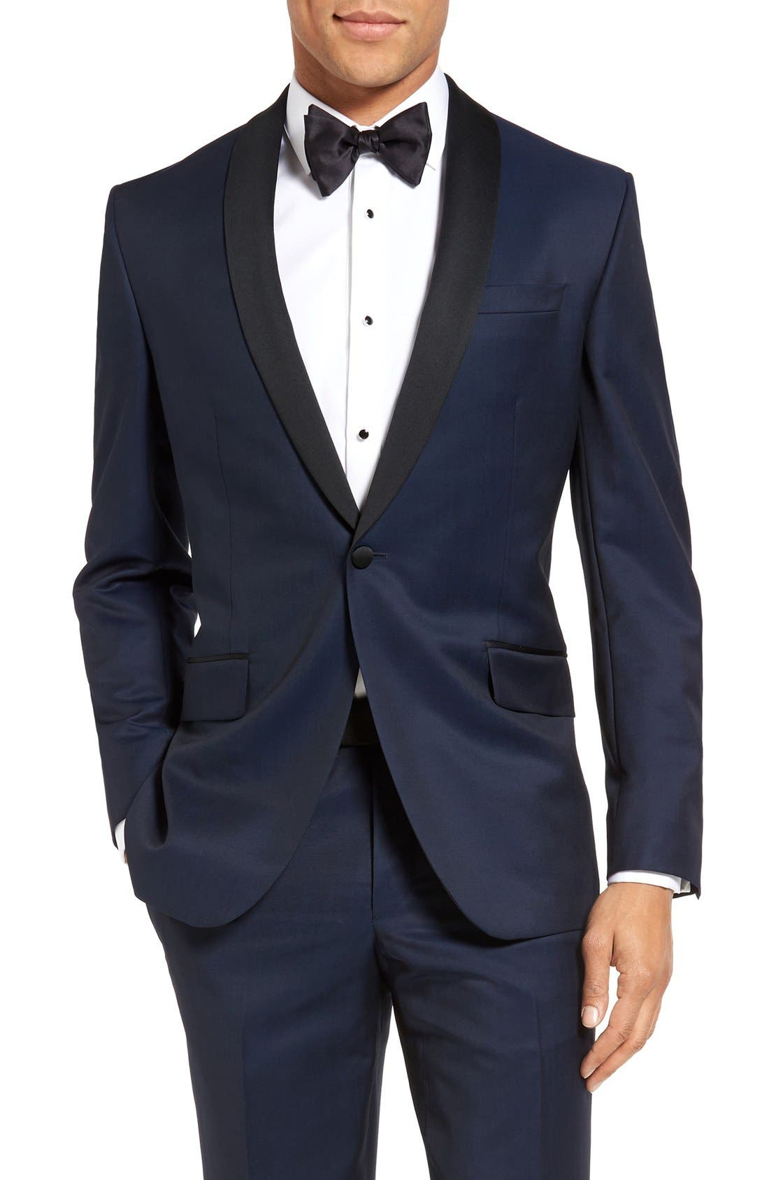 TED BAKER LONDON, Josh Trim Fit Navy Shawl Lapel Tuxedo, Alternate thumbnail 7, color, NAVY BLUE
