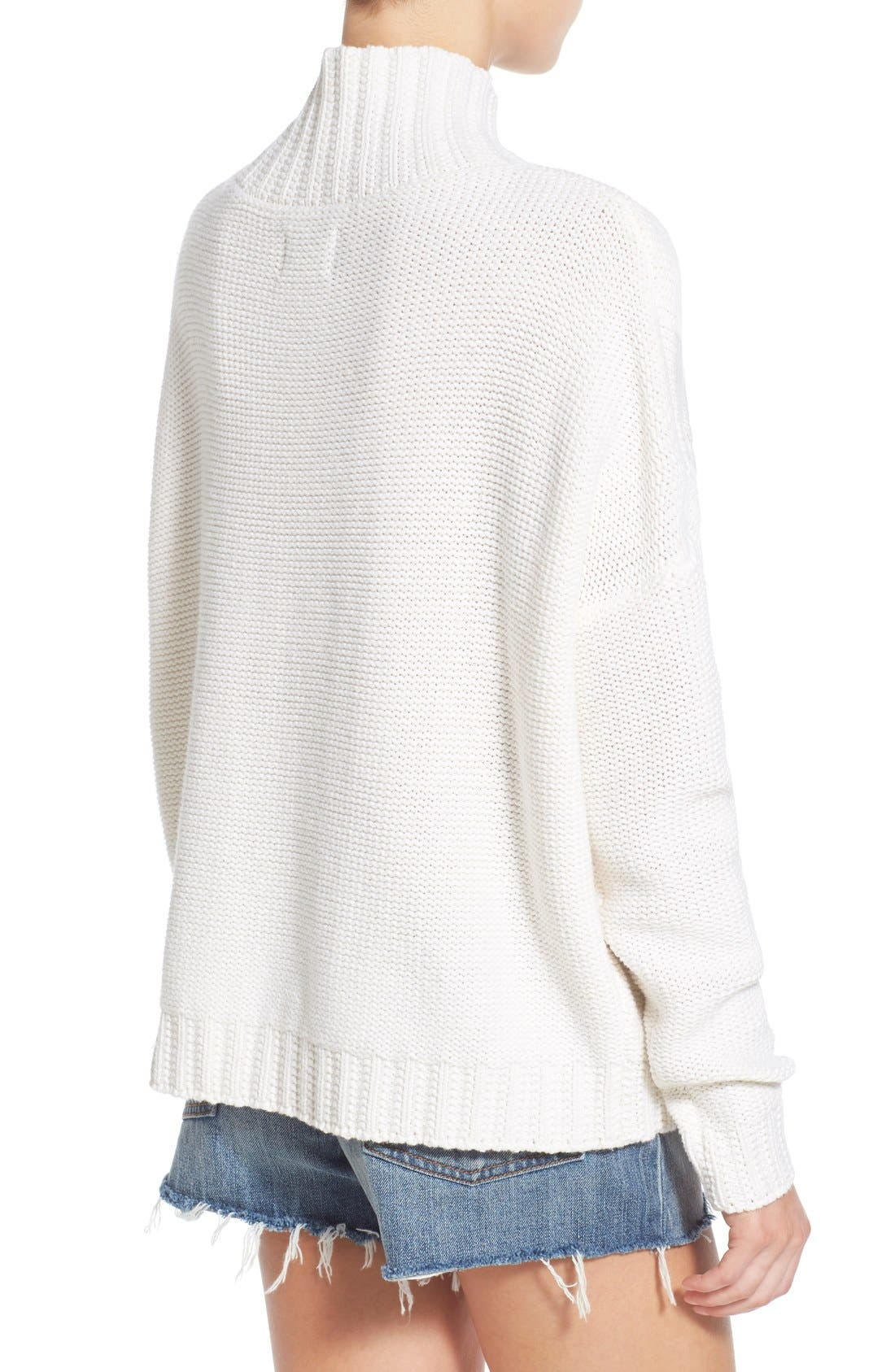 RHYTHM, 'Yacht' Cable Knit Turtleneck Sweater, Alternate thumbnail 3, color, 100