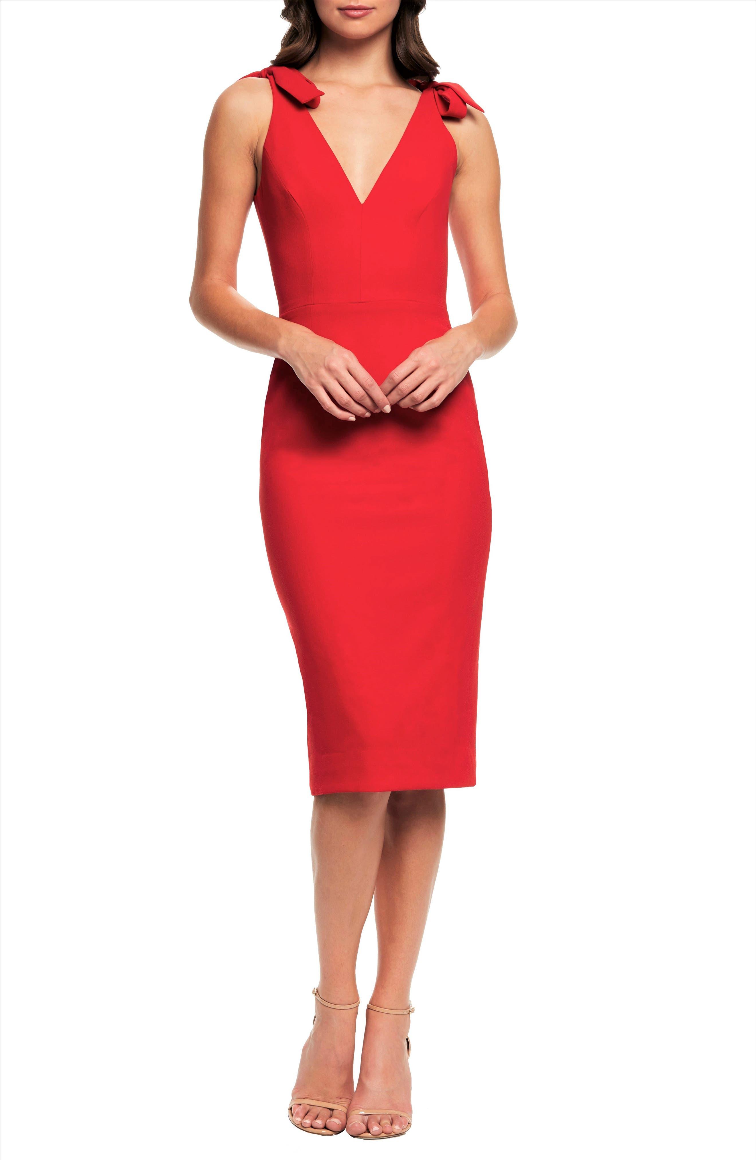 Dress The Population Lita Tie Cocktail Dress, Red