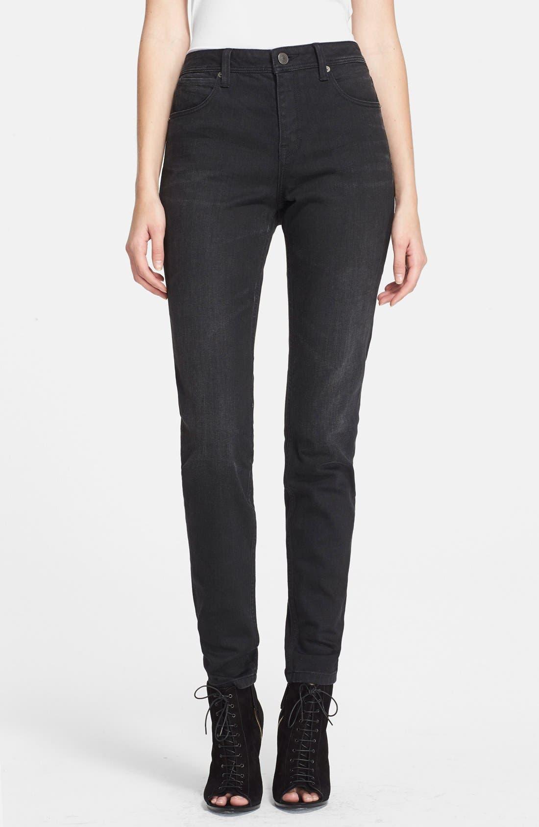 BURBERRY BRIT, Skinny Jeans, Main thumbnail 1, color, 001