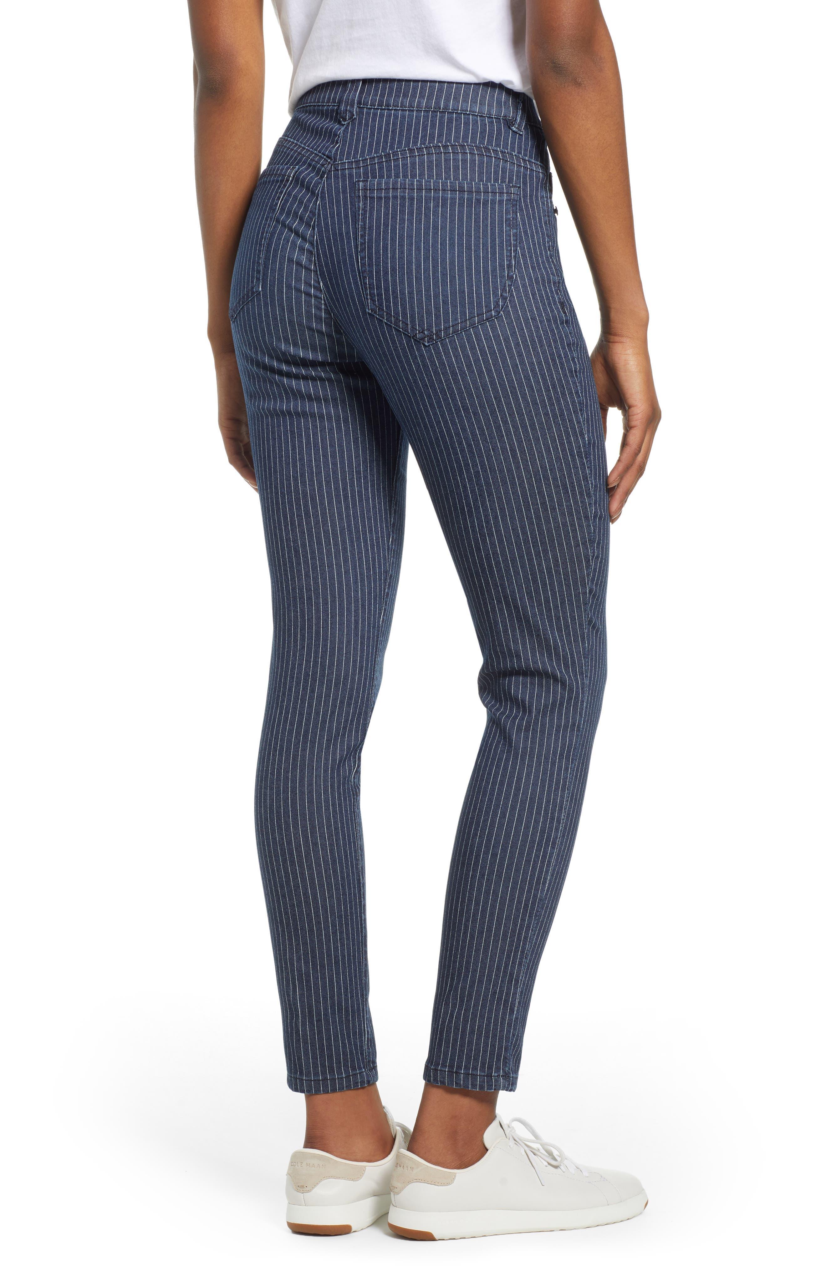 WIT & WISDOM, Ab-Solution Stripe High Waist Crop Skinny Jeans, Alternate thumbnail 2, color, INDIGO