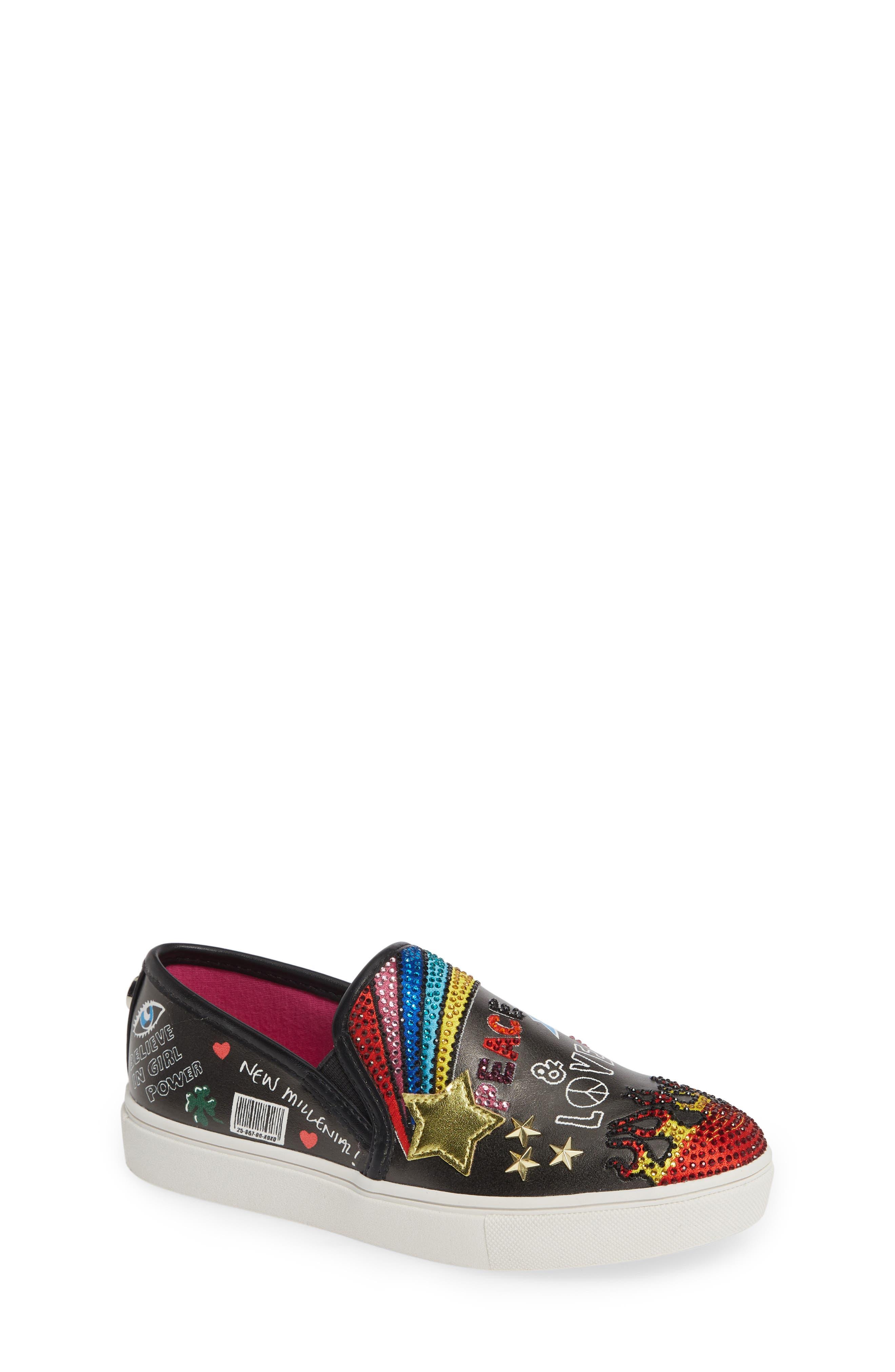 STEVE MADDEN, JPOWRFUL Embellished Slip-On Sneaker, Main thumbnail 1, color, BLACK MULTI