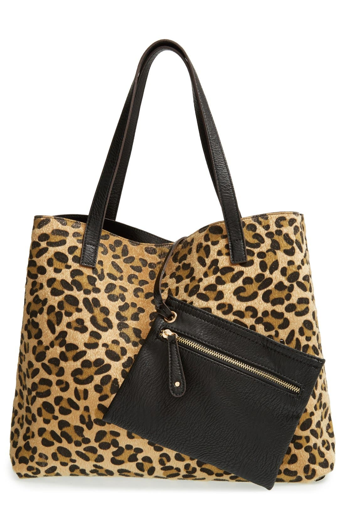 STREET LEVEL, Reversible Faux Leather Tote, Main thumbnail 1, color, 004