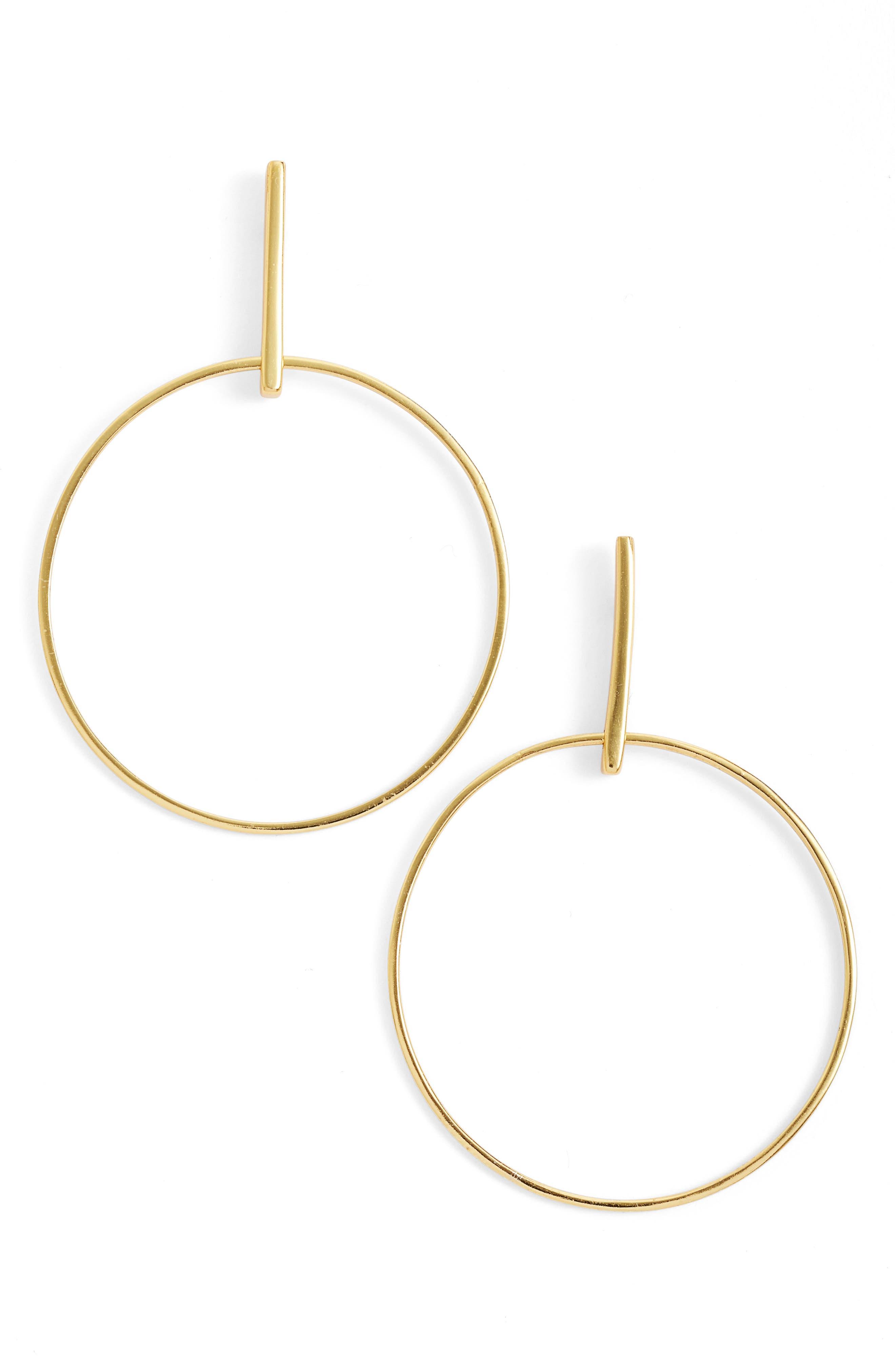 ARGENTO VIVO, Frontal Hoop Earrings, Main thumbnail 1, color, GOLD