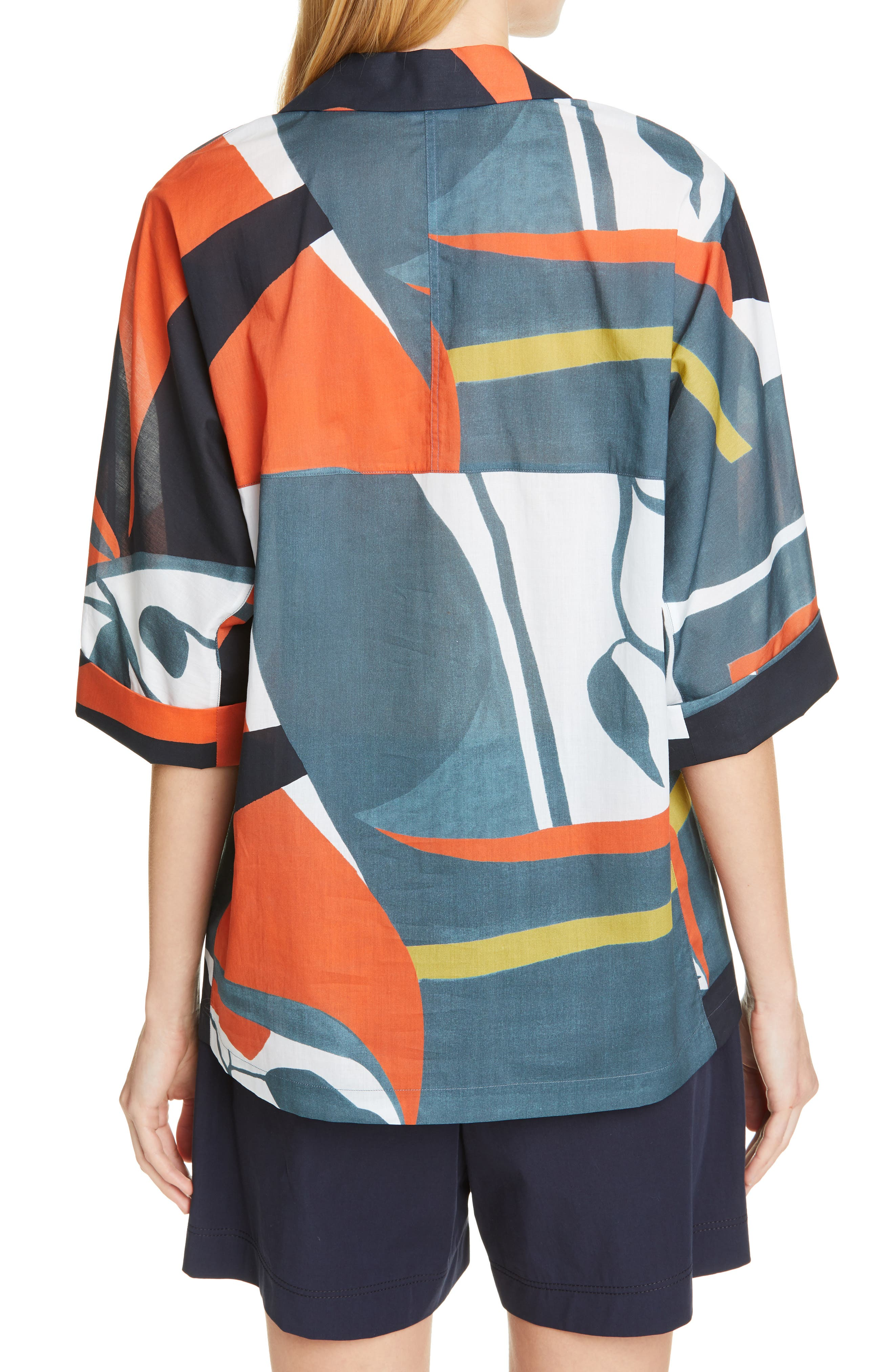 LAFAYETTE 148 NEW YORK, Nicole Artisan Abstract Print Top, Alternate thumbnail 2, color, ATLANTIS TEAL MULTI