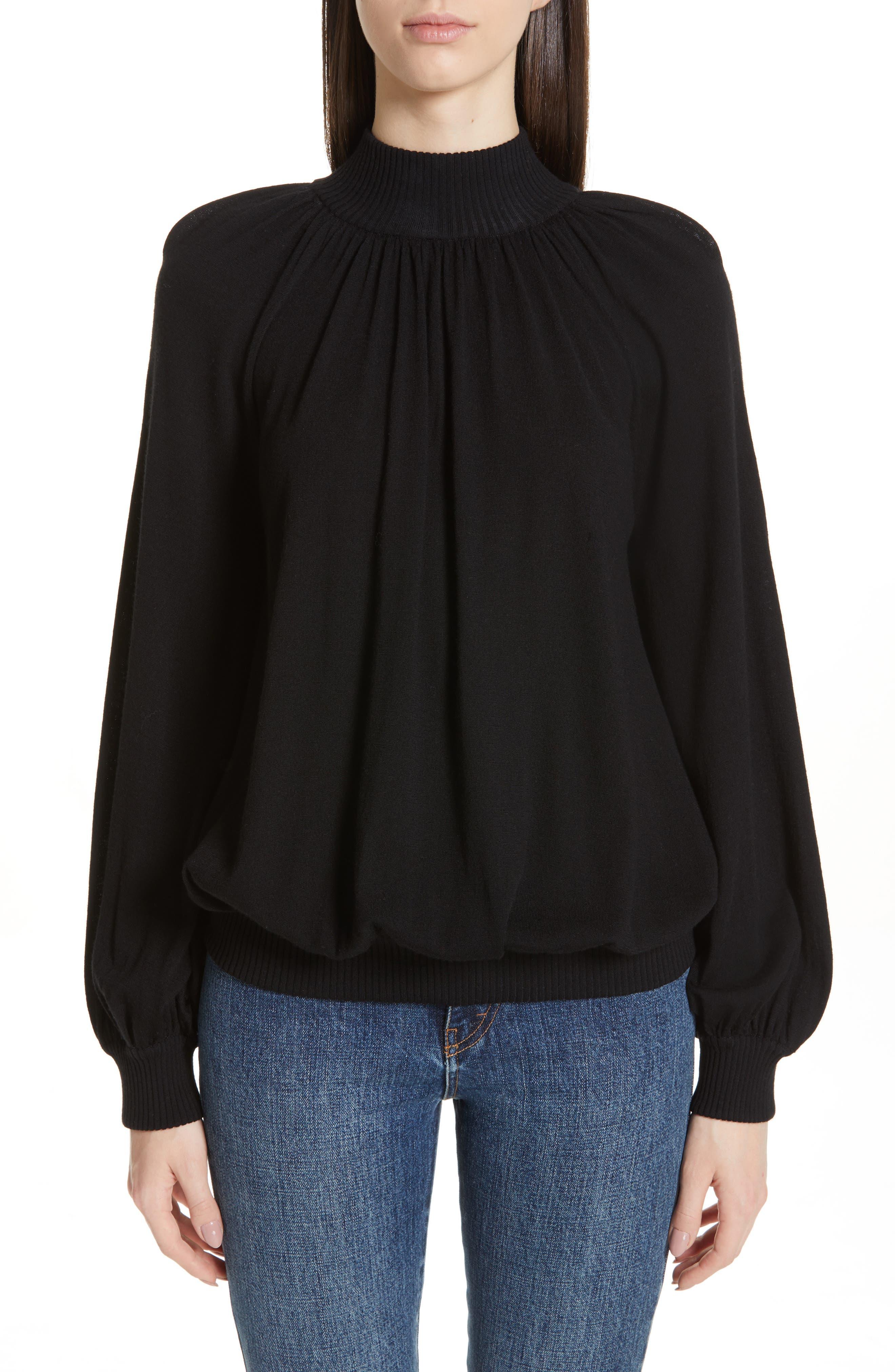 CO Cashmere High Neck Blouson Sweater, Main, color, BLACK