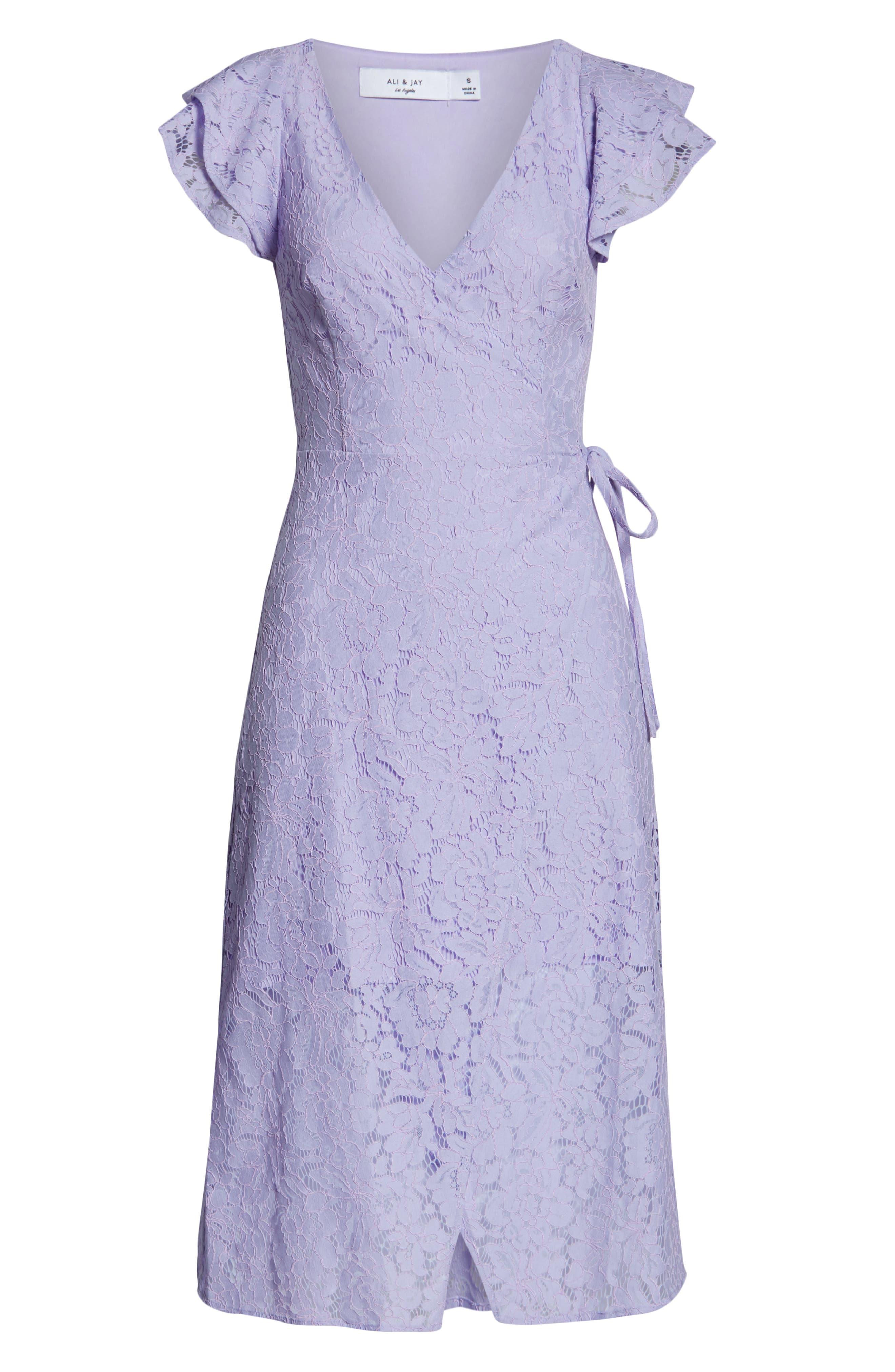 ALI & JAY, Ruffle Sleeve Wrap Lace Midi Dress, Alternate thumbnail 7, color, LAVENDER