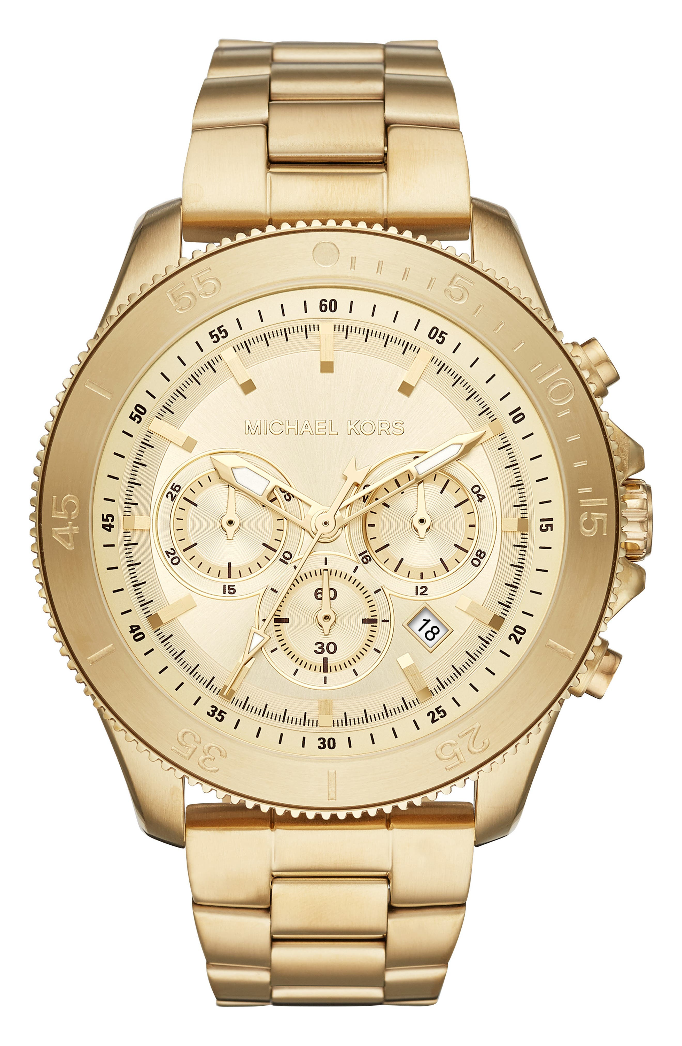MICHAEL KORS Theroux Bracelet Watch, 45mm, Main, color, GOLD
