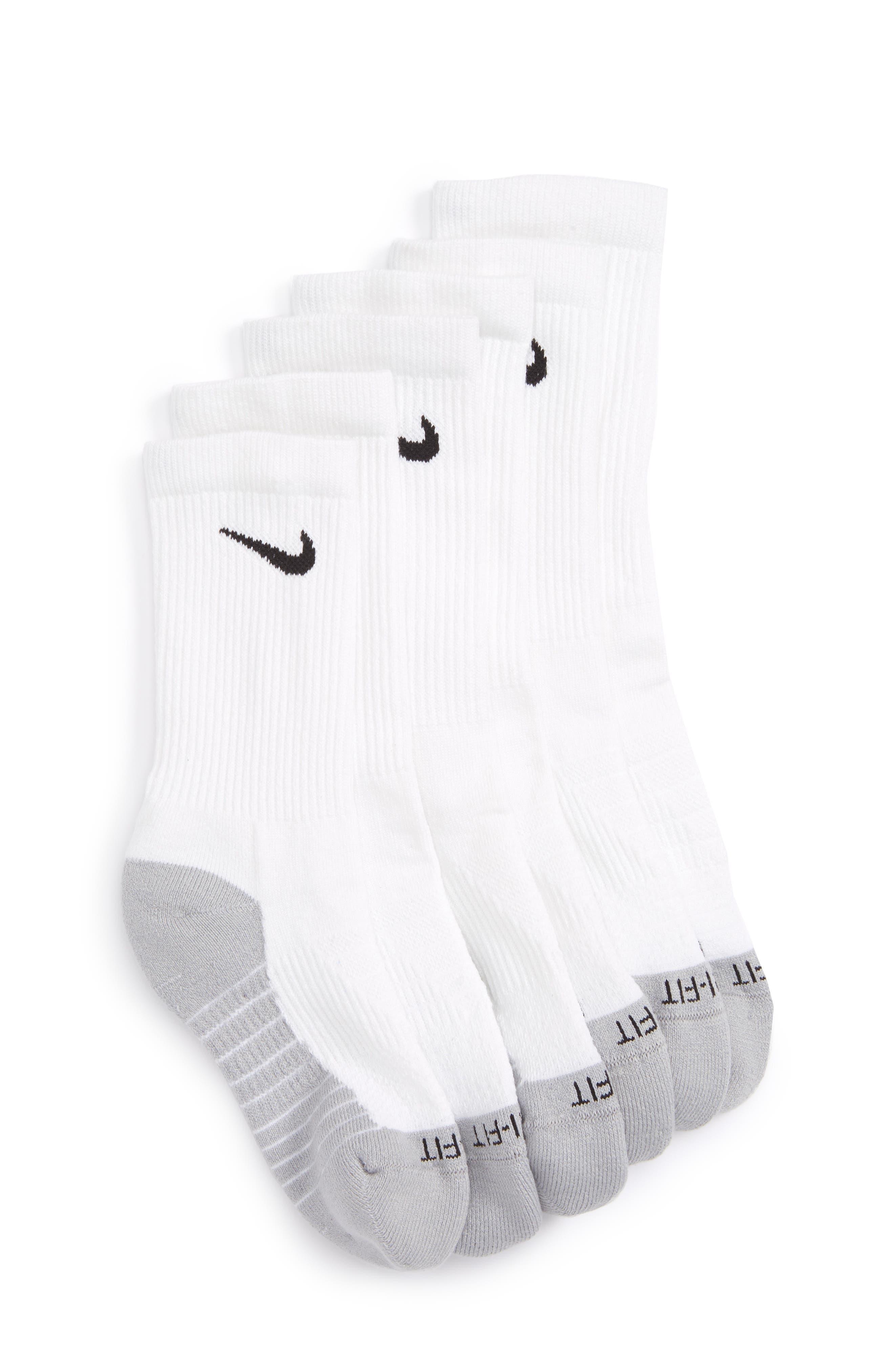 Kids Nike Dry Ultimate Flight 3Pack Cushioned Crew Socks Size M(57)  White