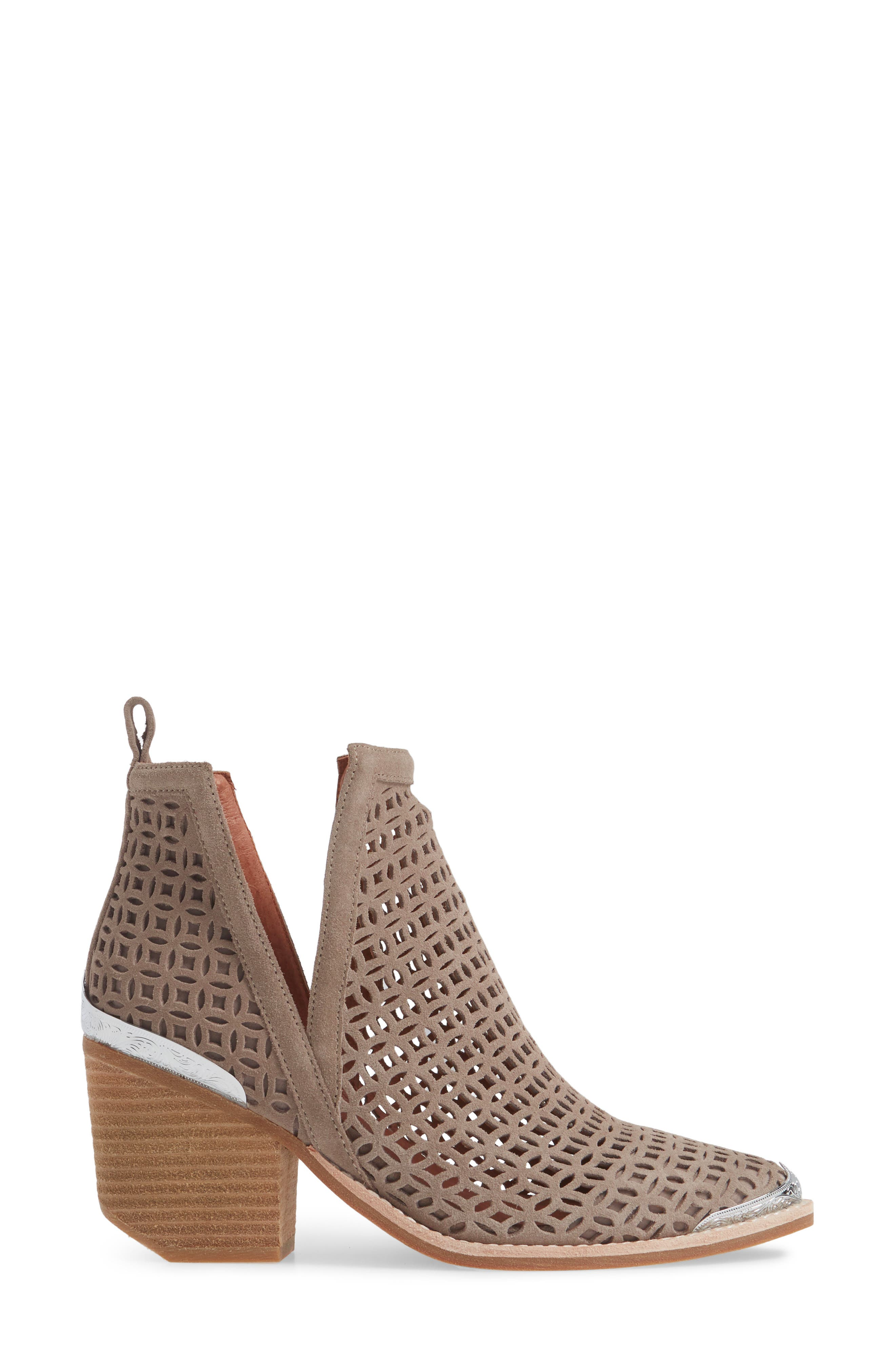 JEFFREY CAMPBELL, Cromwell-C2 Perforated Bootie, Alternate thumbnail 3, color, TAUPE SUEDE