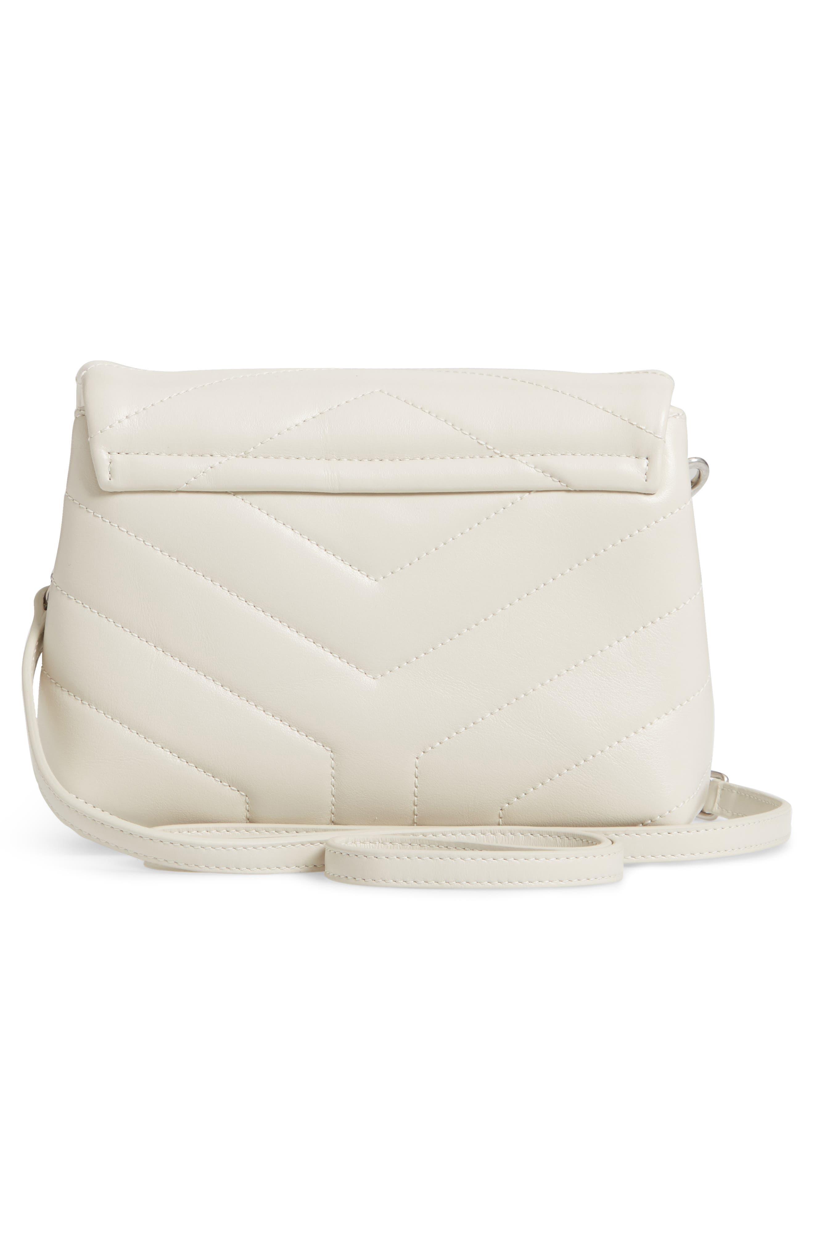 SAINT LAURENT, Toy Loulou Calfskin Leather Crossbody Bag, Alternate thumbnail 3, color, CREMA SOFT