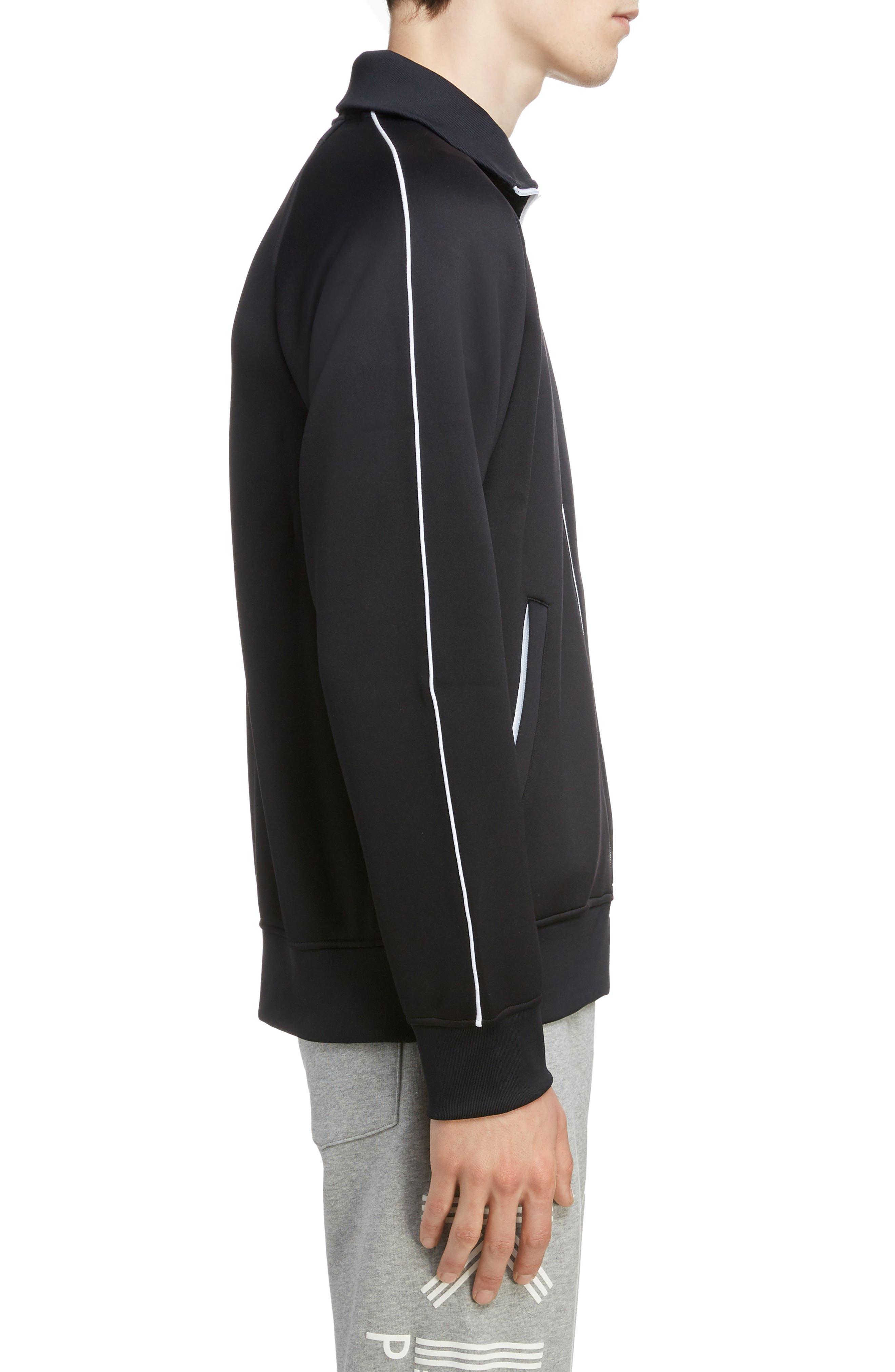 KENZO, Zip Track Jacket, Alternate thumbnail 3, color, BLACK