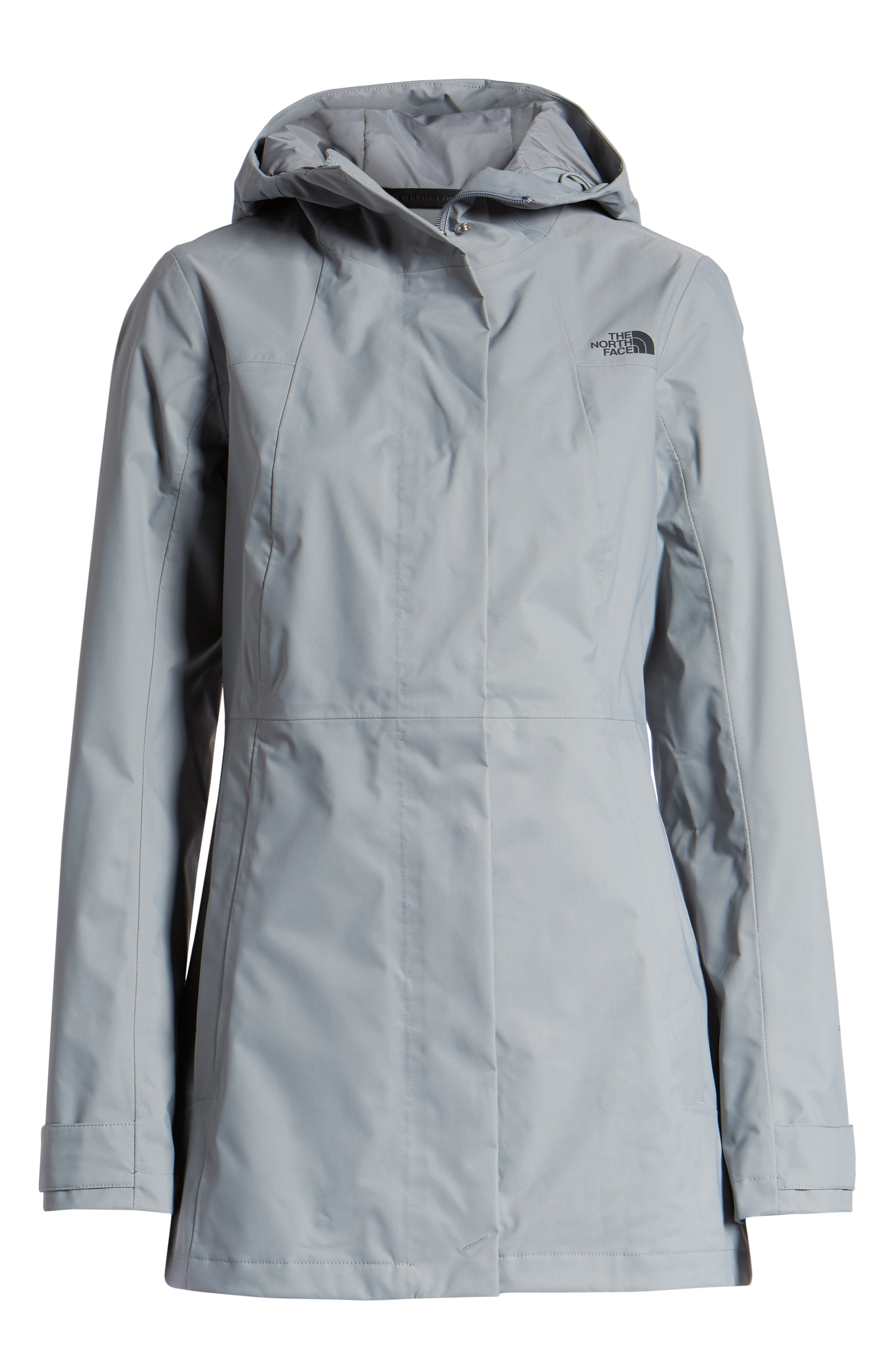 THE NORTH FACE, City Midi Trench Coat, Alternate thumbnail 6, color, MID GREY
