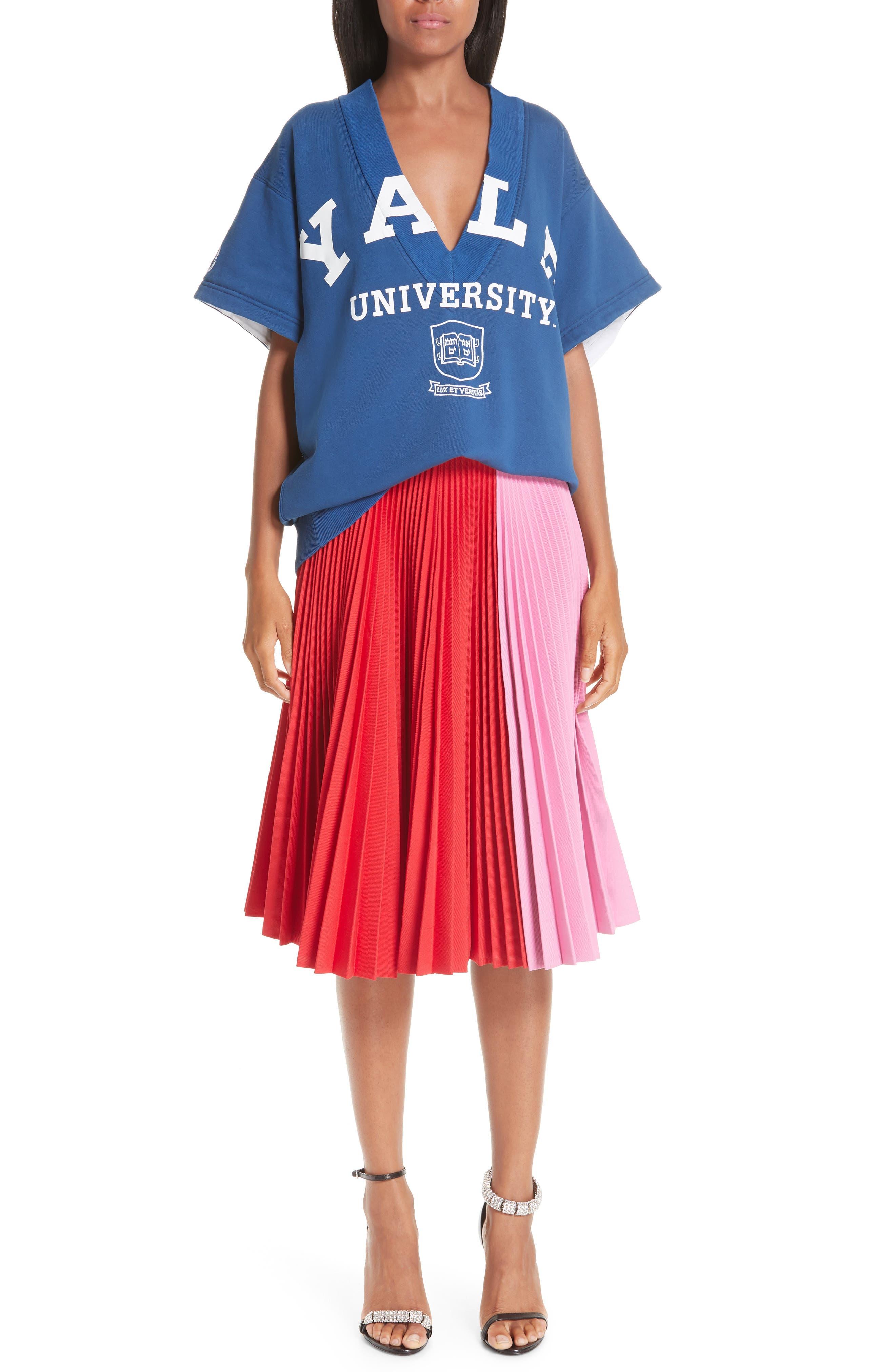 CALVIN KLEIN 205W39NYC, Yale Short Sleeve Sweatshirt, Alternate thumbnail 8, color, YALE BLUE