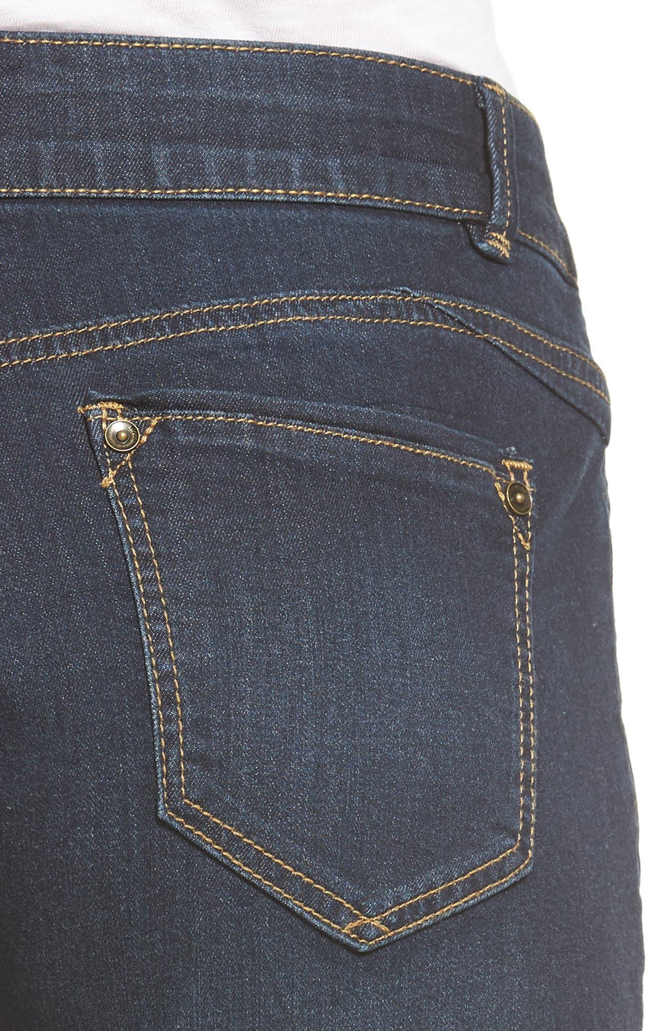 WIT & WISDOM, Ab-solution Cuffed Denim Shorts, Alternate thumbnail 5, color, INDIGO